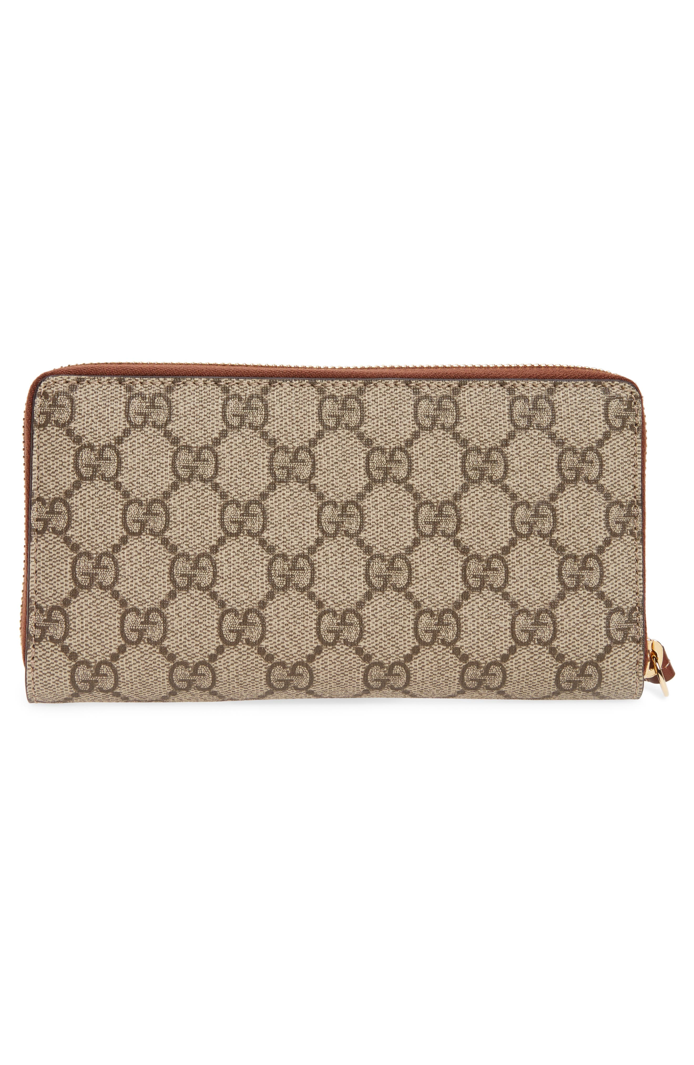 GG Supreme Zip Around Canvas Wallet,                             Alternate thumbnail 3, color,