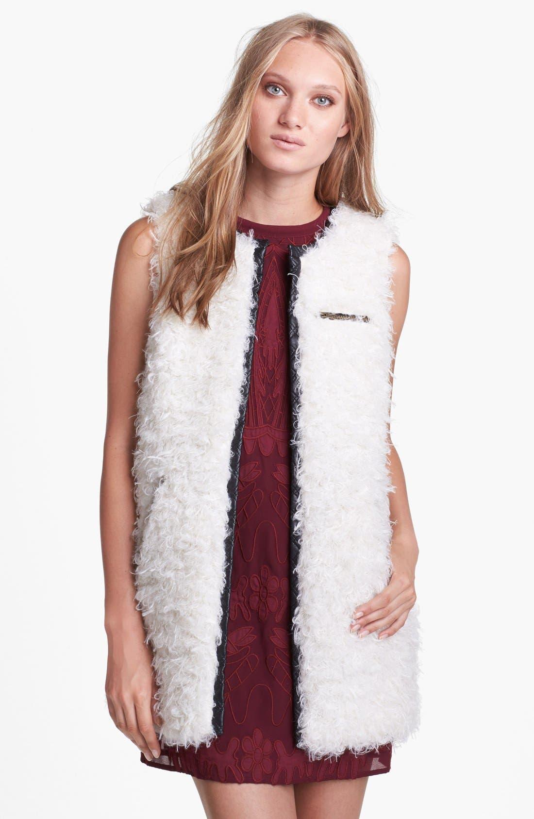 ASTR Faux Leather Trim Fuzzy Vest,                             Main thumbnail 1, color,                             250