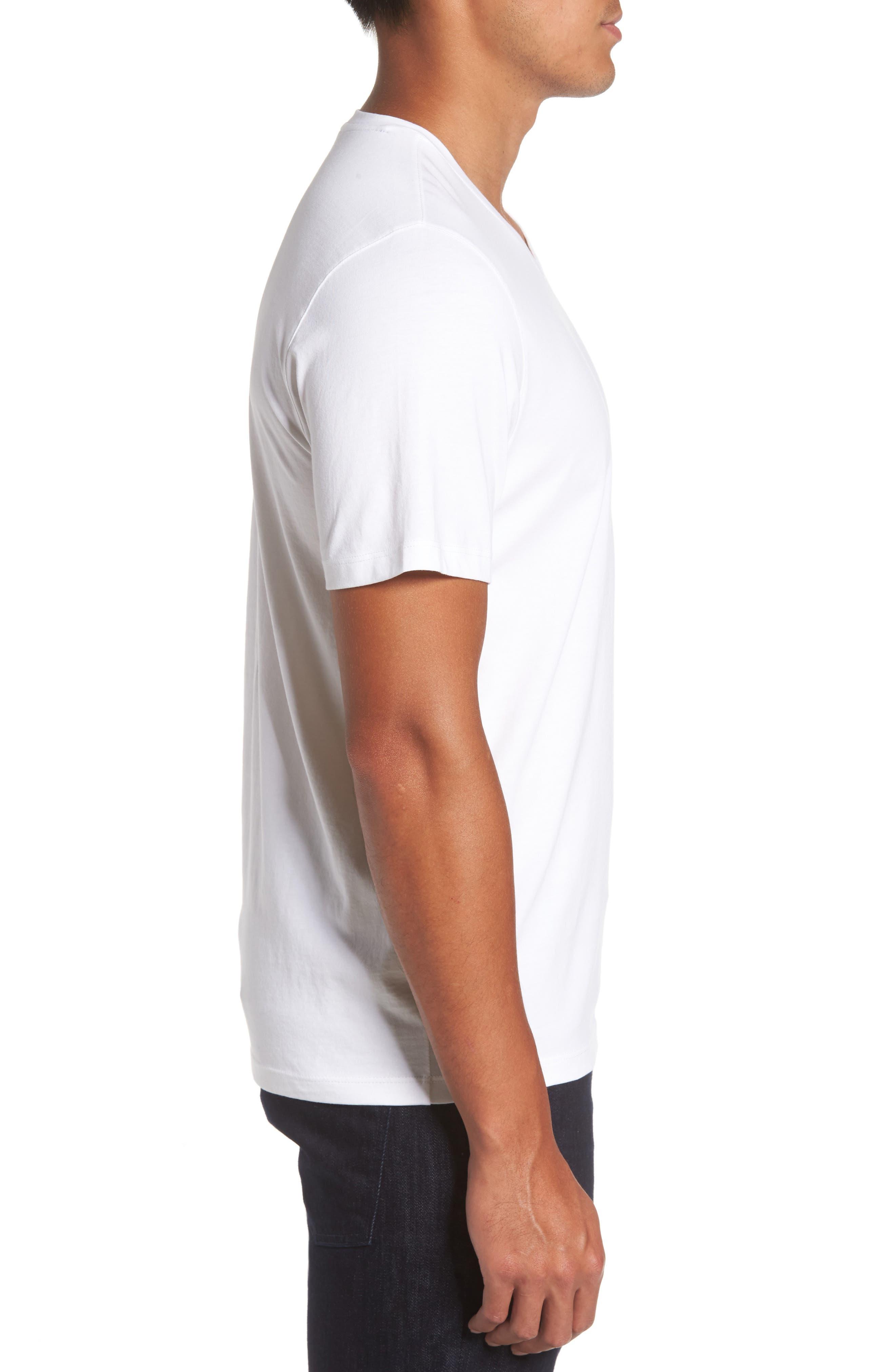 Mercer V-Neck T-Shirt,                             Alternate thumbnail 3, color,                             WHITE