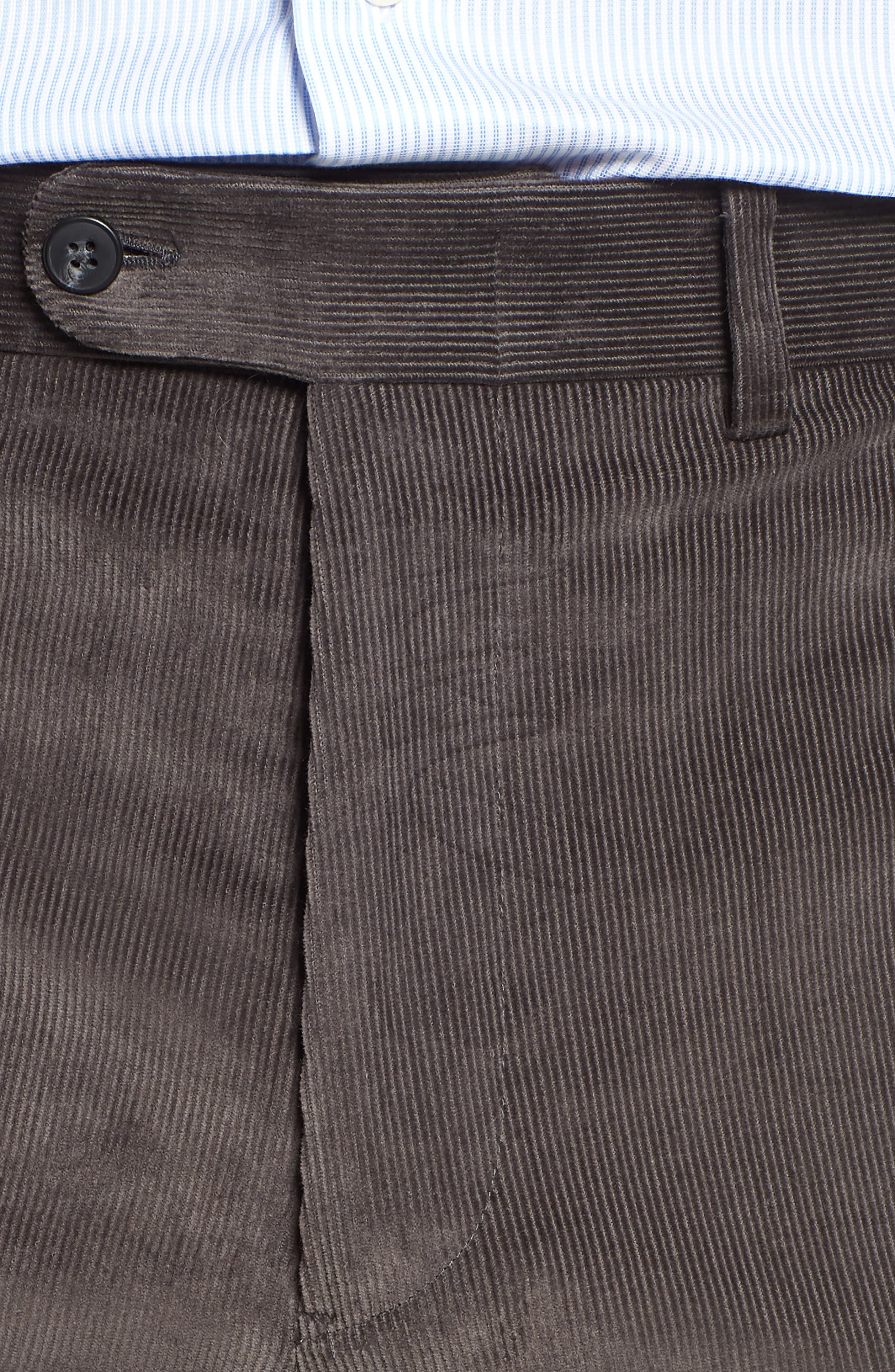 Torino Traditional Fit Flat Front Corduroy Trousers,                             Alternate thumbnail 4, color,                             GREY