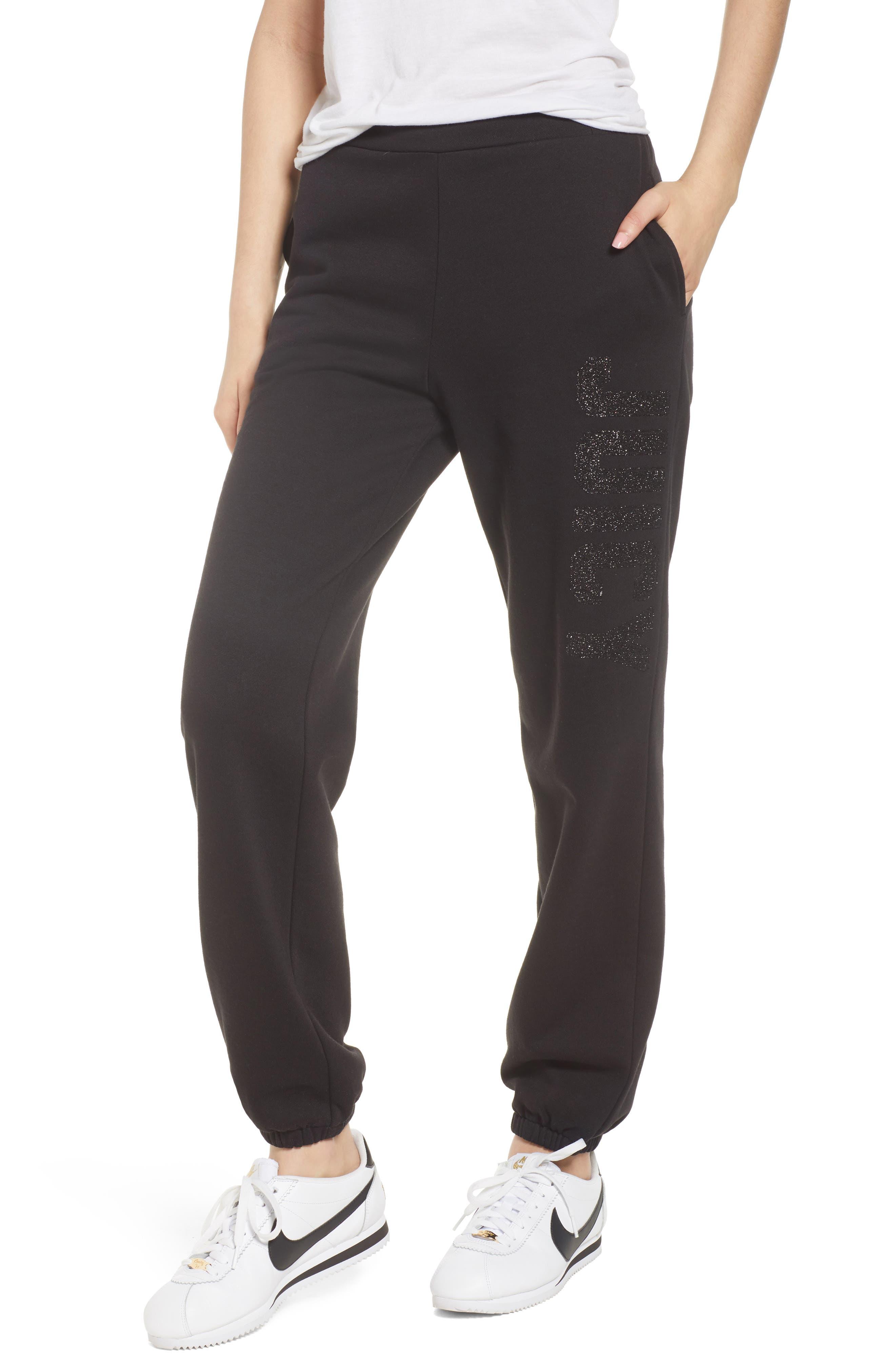 Glitter Logo Embellished Fleece Pants,                             Main thumbnail 1, color,                             009