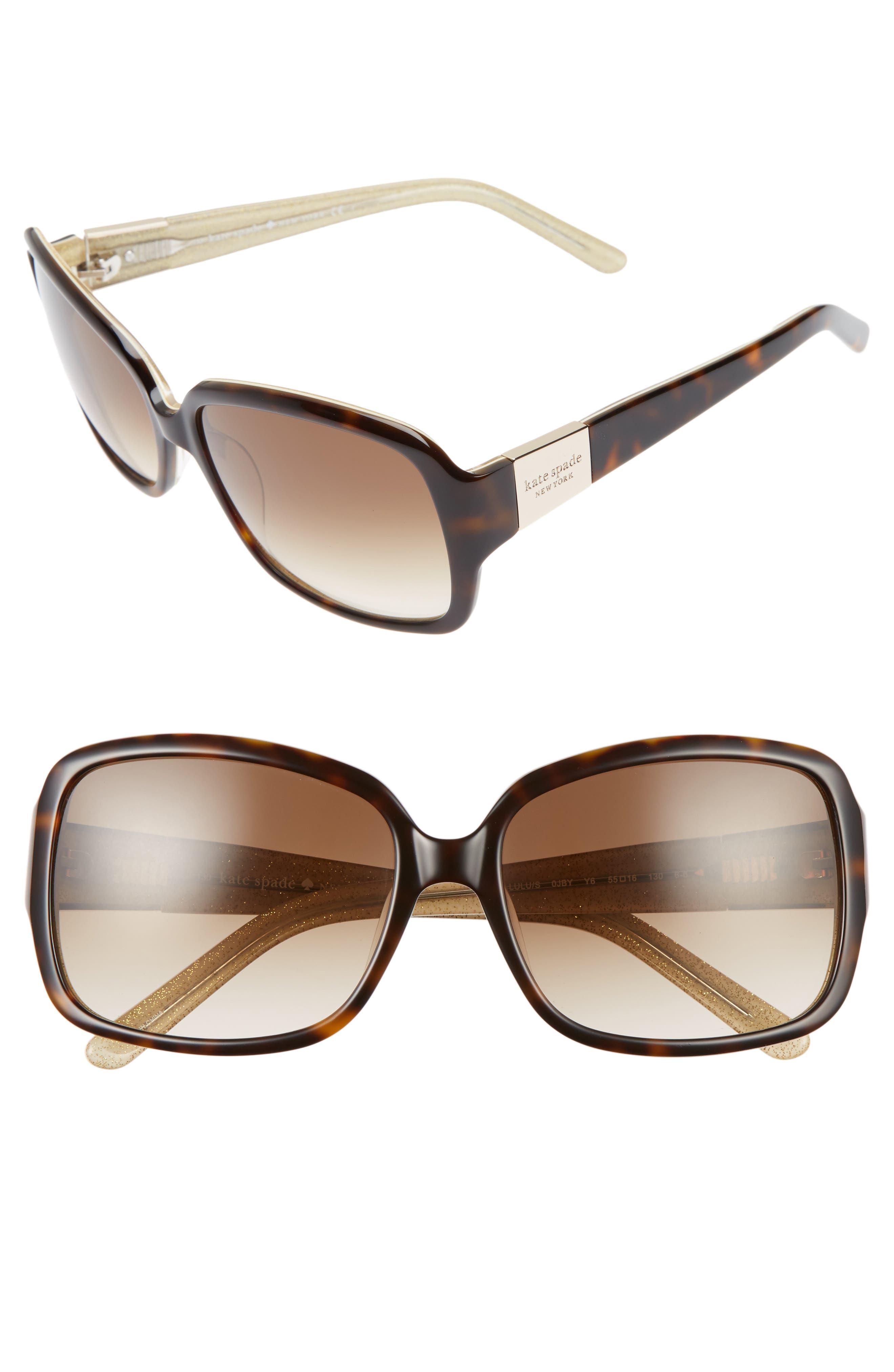 'lulu' 55mm rectangular sunglasses,                             Alternate thumbnail 2, color,                             TORTOISE/ GOLD