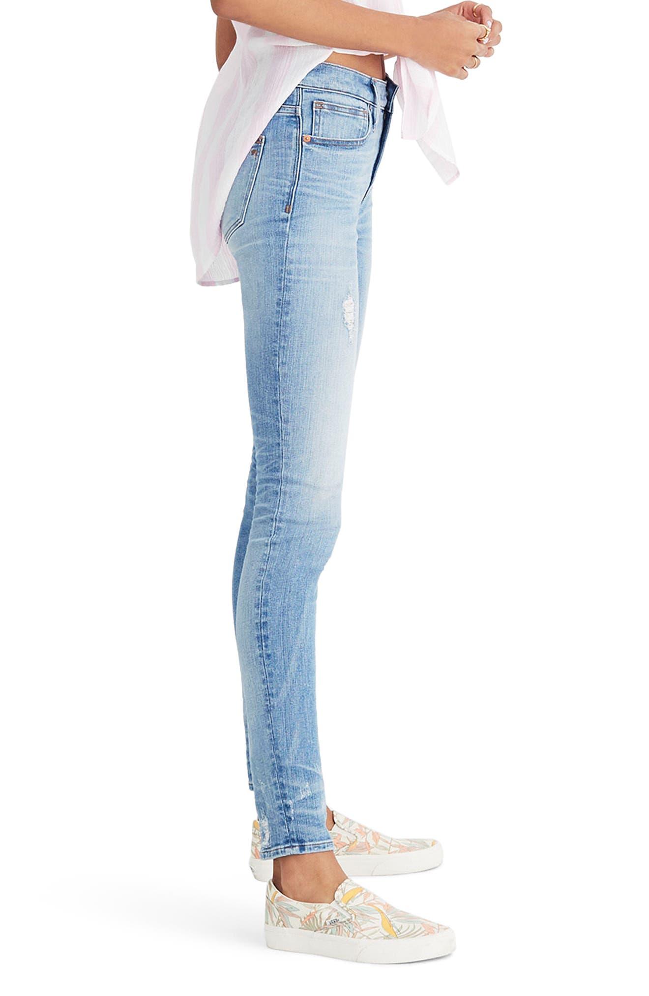 MADEWELL,                             9-Inch Destructed Hem High Waist Skinny Jeans,                             Alternate thumbnail 3, color,                             400