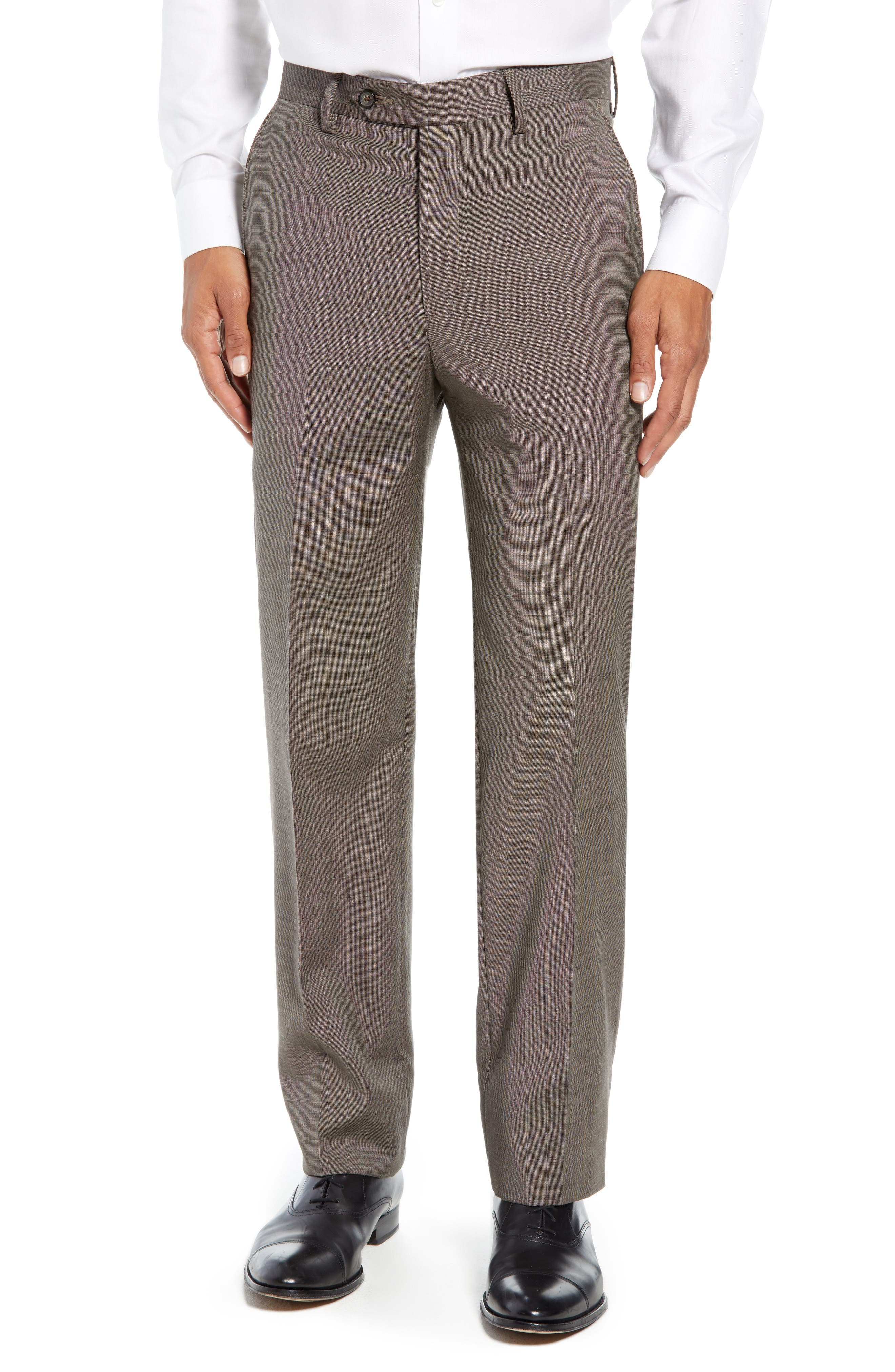 Manufacturing Flat Front Wool Trousers,                         Main,                         color, BROWN