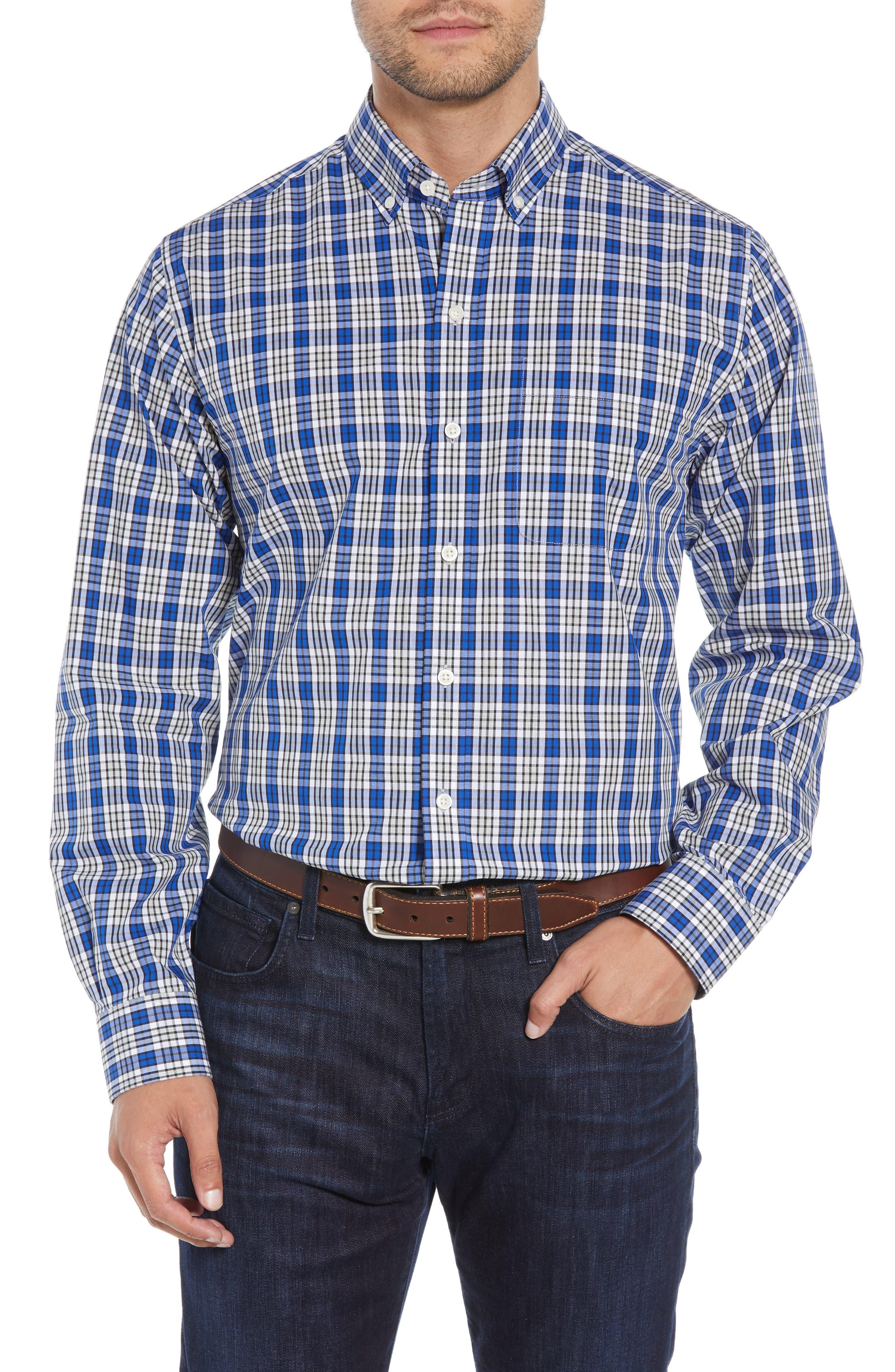 Cutter & Buck Harris Regular Fit Non-Iron Plaid Sport Shirt, Blue