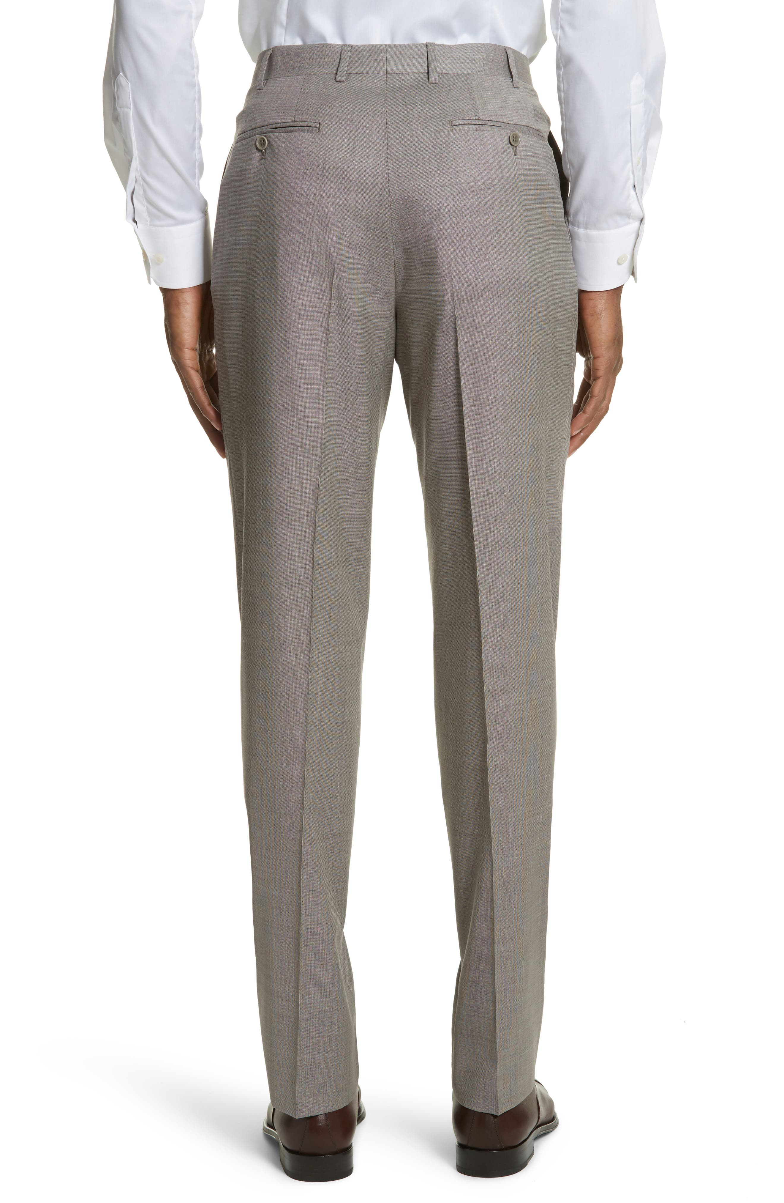 Flat Front Solid Wool Trousers,                             Alternate thumbnail 2, color,                             252