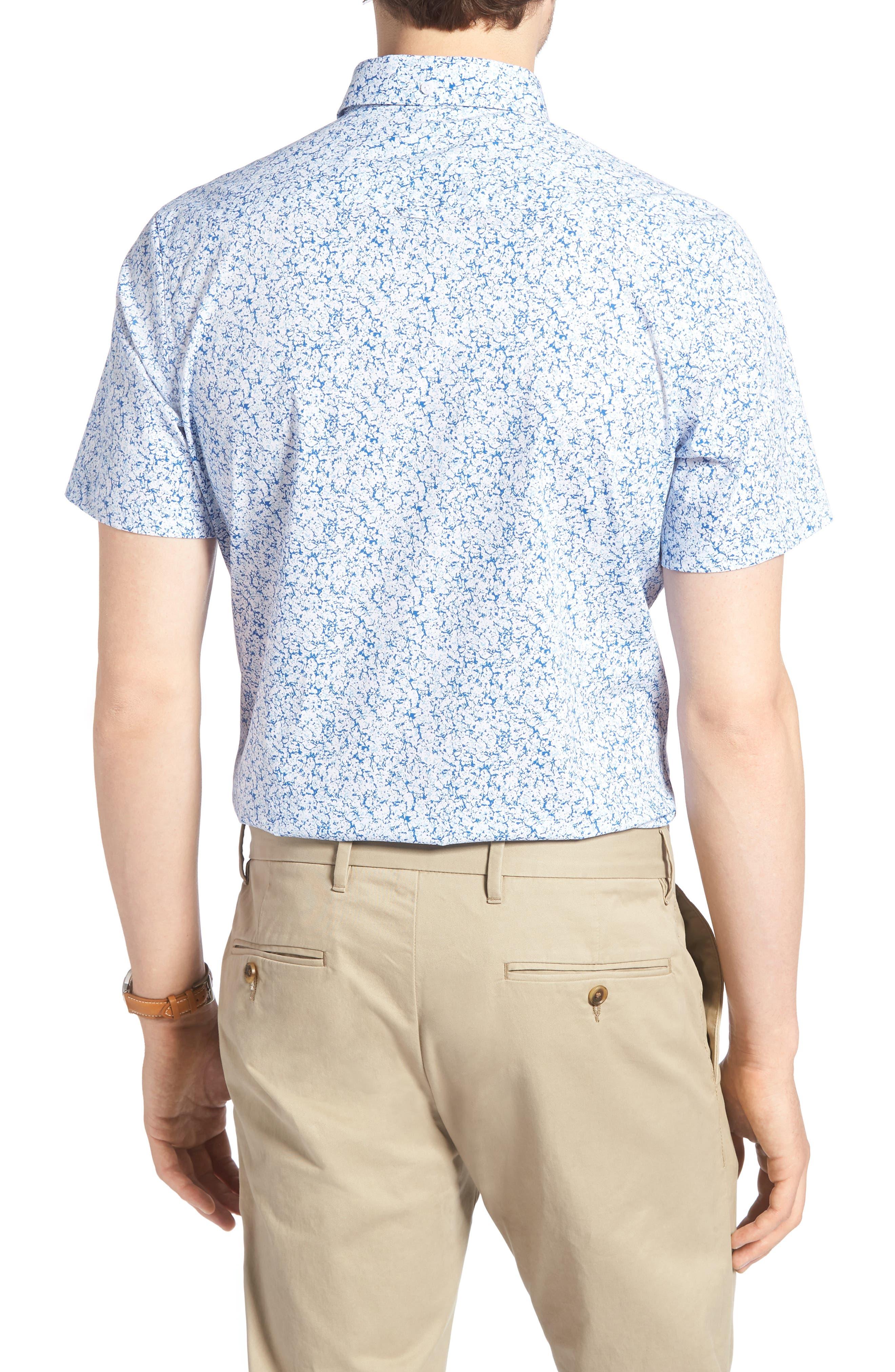 Trim Fit Marble Print Sport Shirt,                             Alternate thumbnail 2, color,                             100