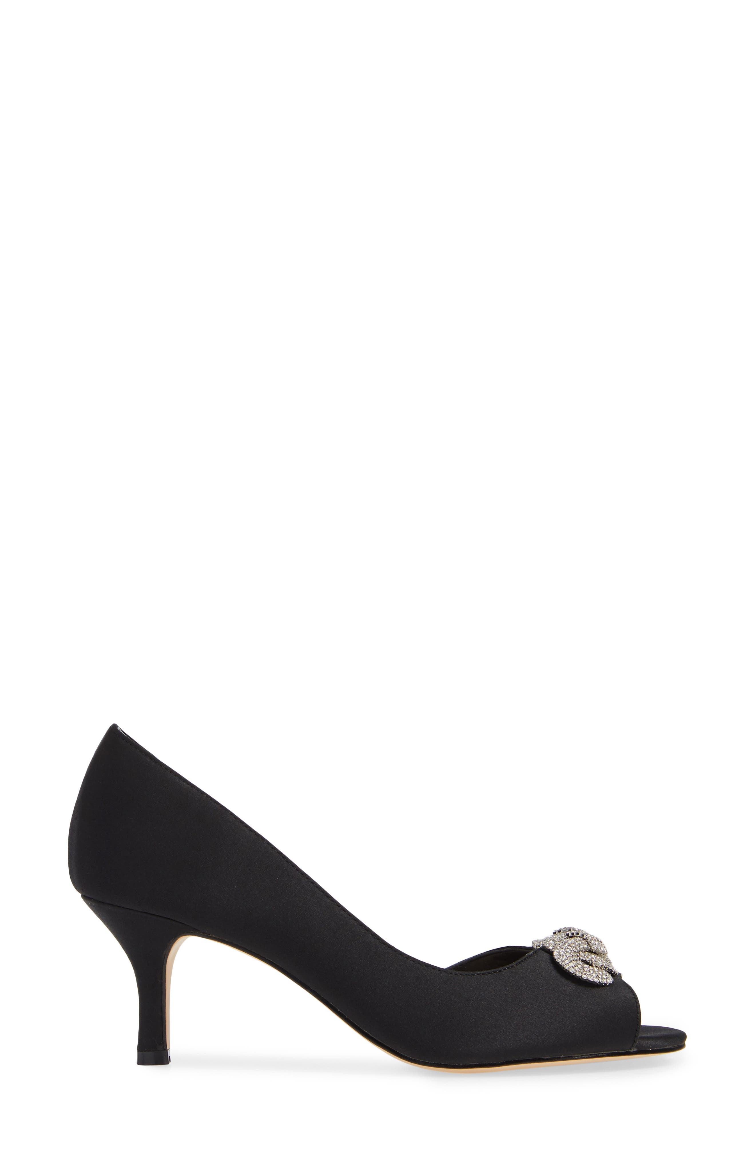 Madolyn Embellished Open Toe Pump,                             Alternate thumbnail 3, color,                             BLACK SATIN