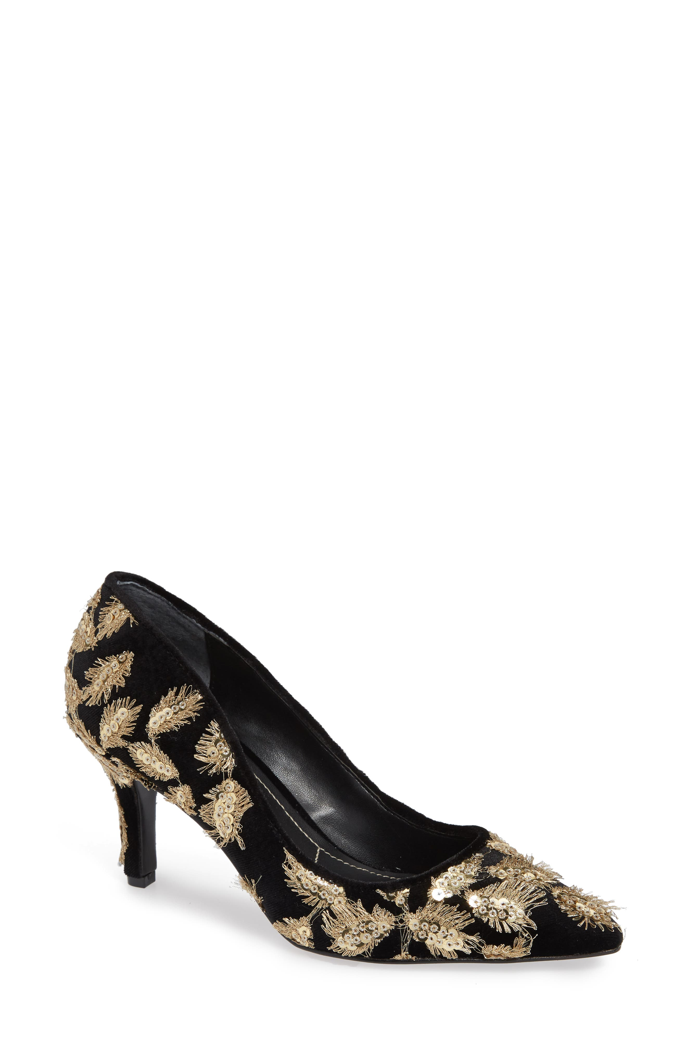 Sophie Embellished Pump,                             Main thumbnail 1, color,                             GOLD MULTI VELVET