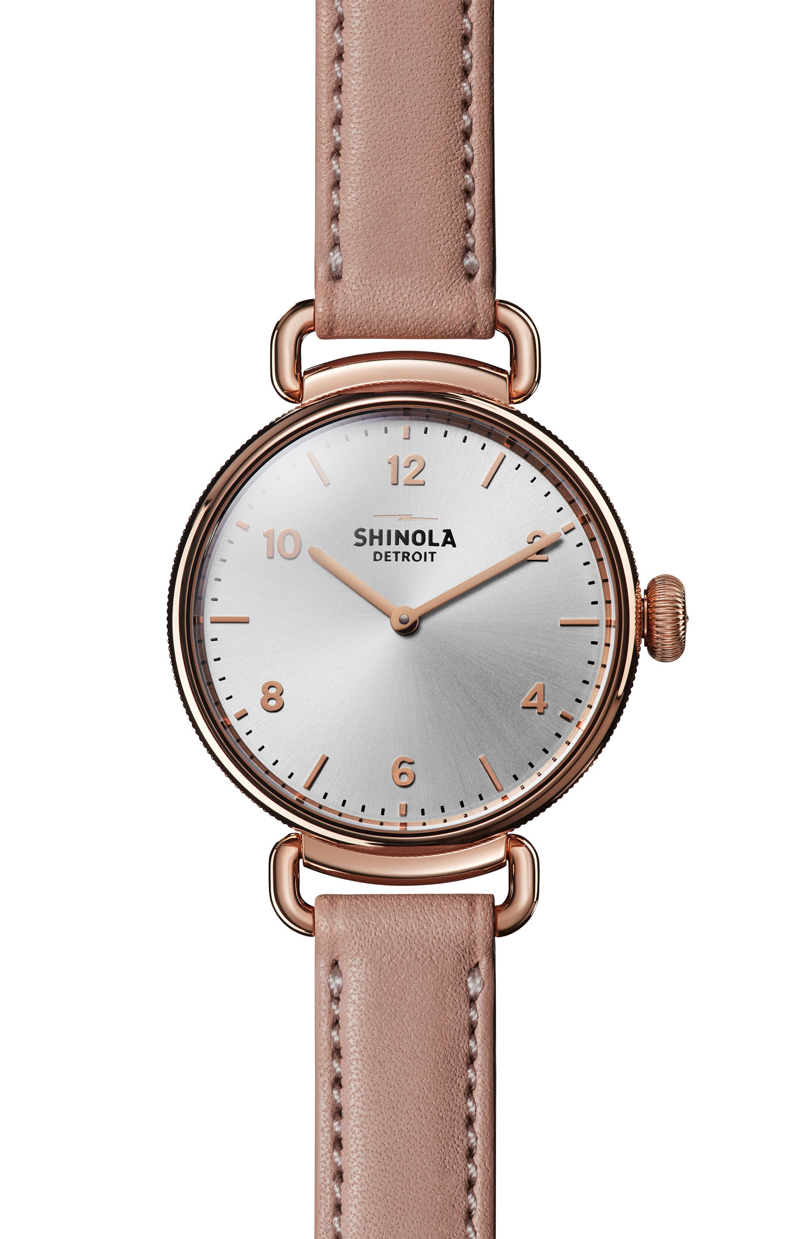 Canfield Leather Strap Watch, 32mm,                         Main,                         color, BLUSH/ SILVER/ ROSE GOLD