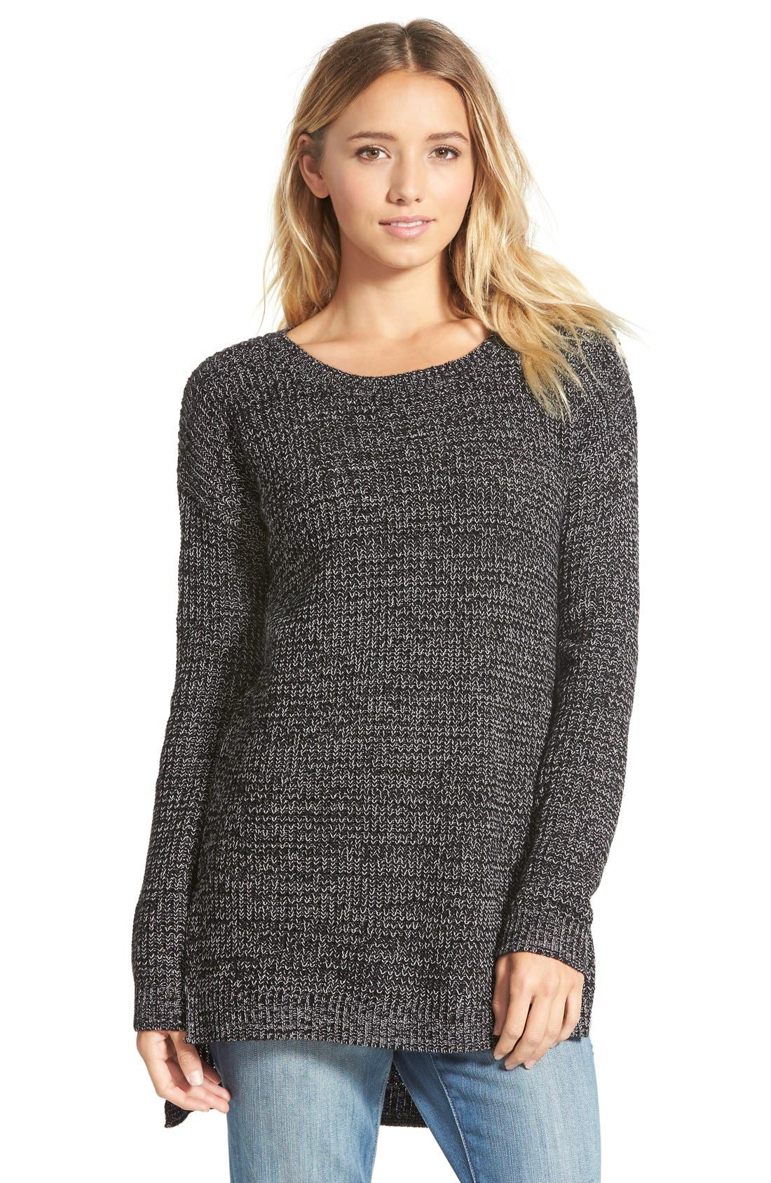 Textured Knit Pullover,                             Main thumbnail 1, color,                             001