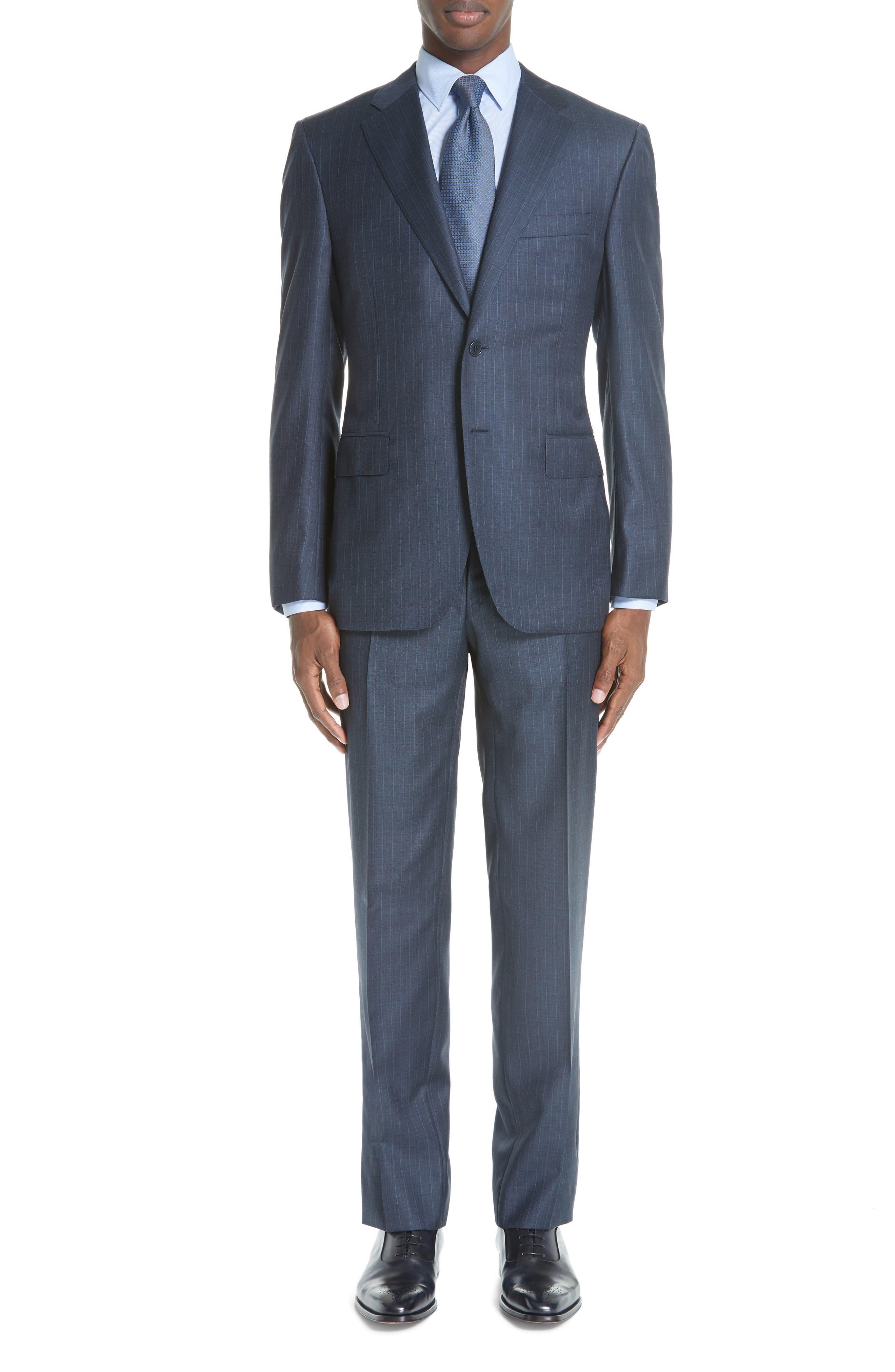 Classic Fit Stripe Wool Suit,                         Main,                         color, 400