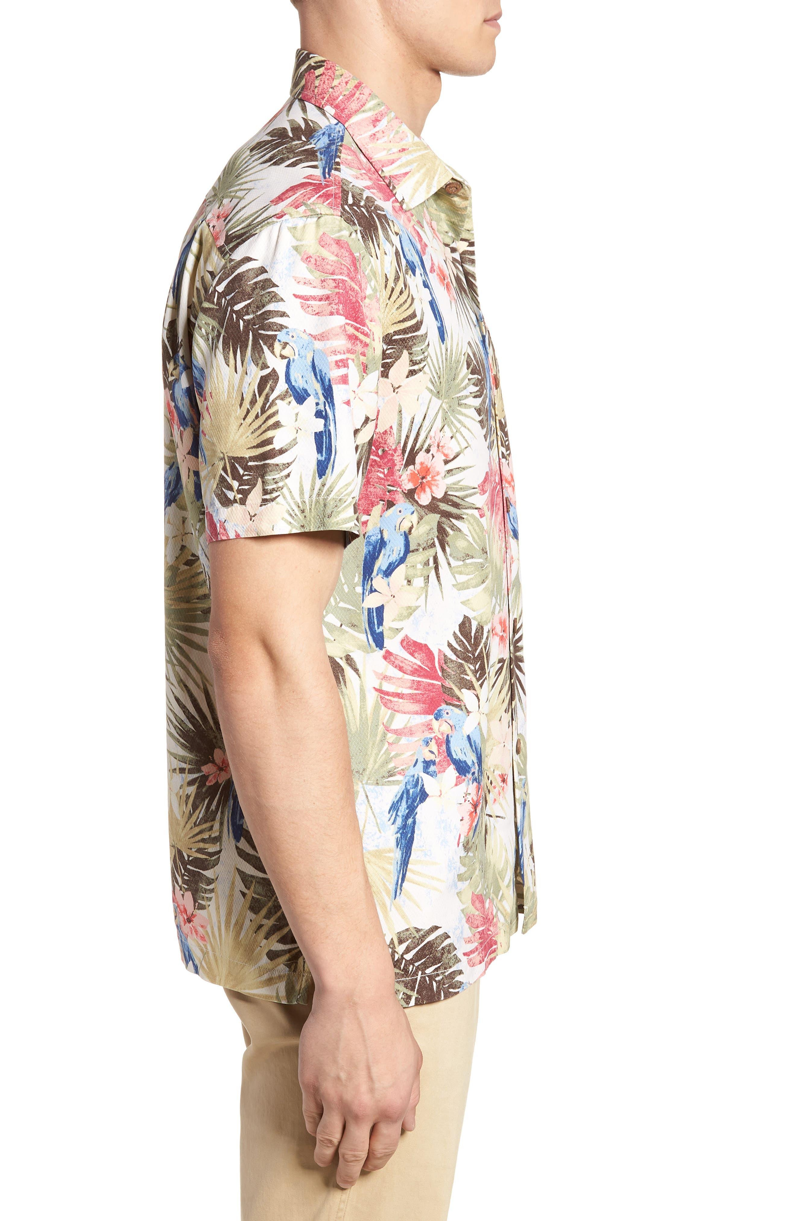 Marino Paradise Silk Camp Shirt,                             Alternate thumbnail 3, color,                             100