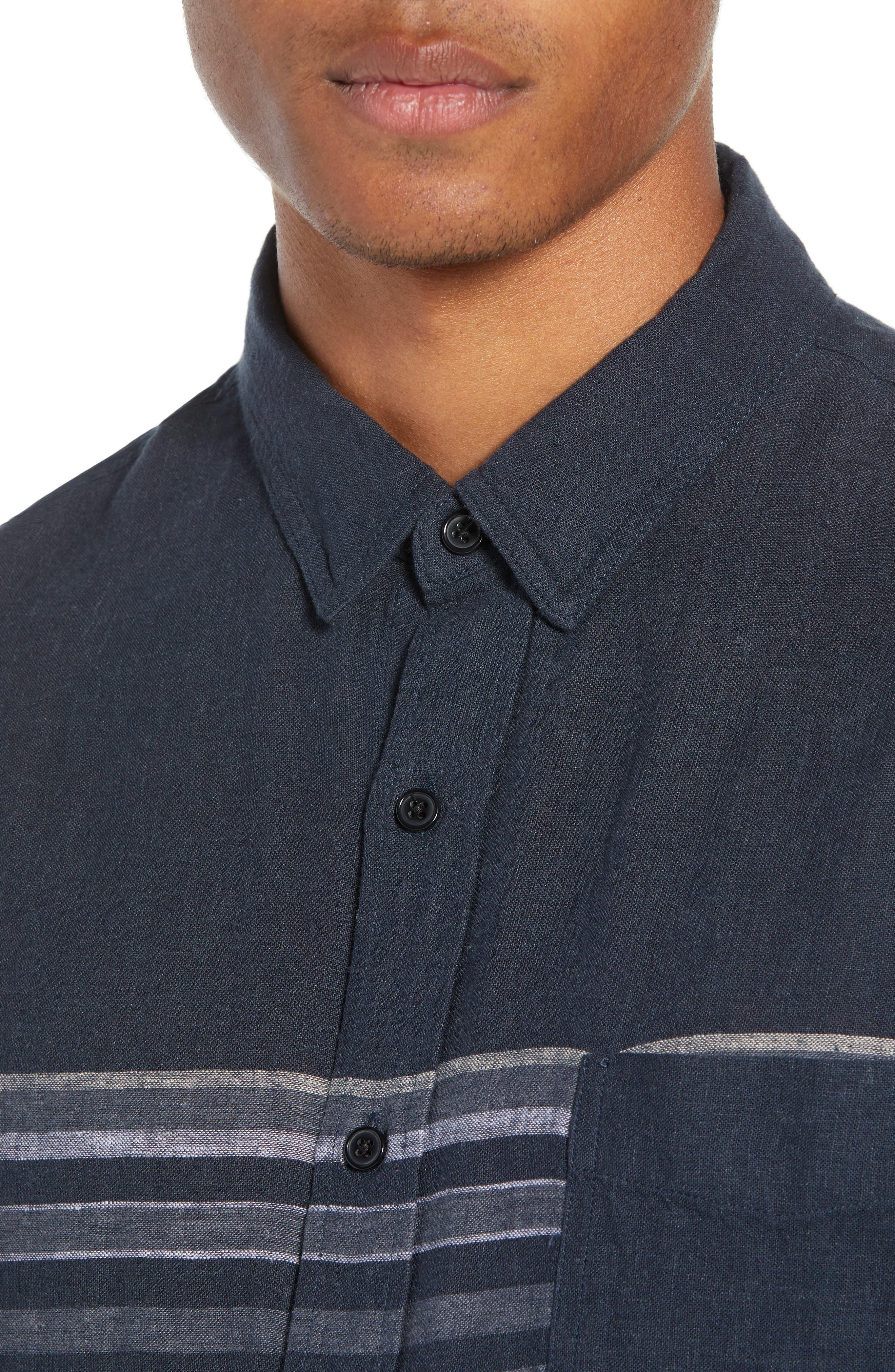 Carson Regular Fit Stripe Woven Shirt,                             Alternate thumbnail 2, color,                             NAVY/WHITE/GREY STRIPE