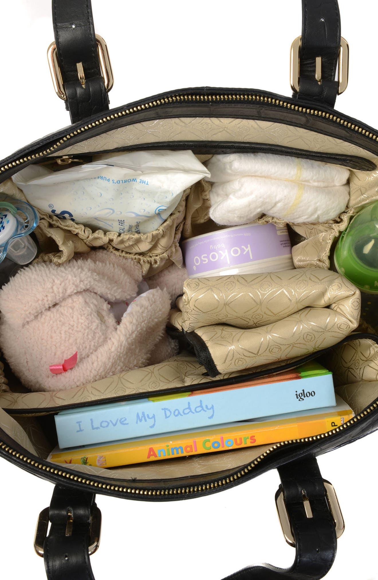 Francis Croc Embossed Leather Diaper Bag,                             Alternate thumbnail 2, color,                             001
