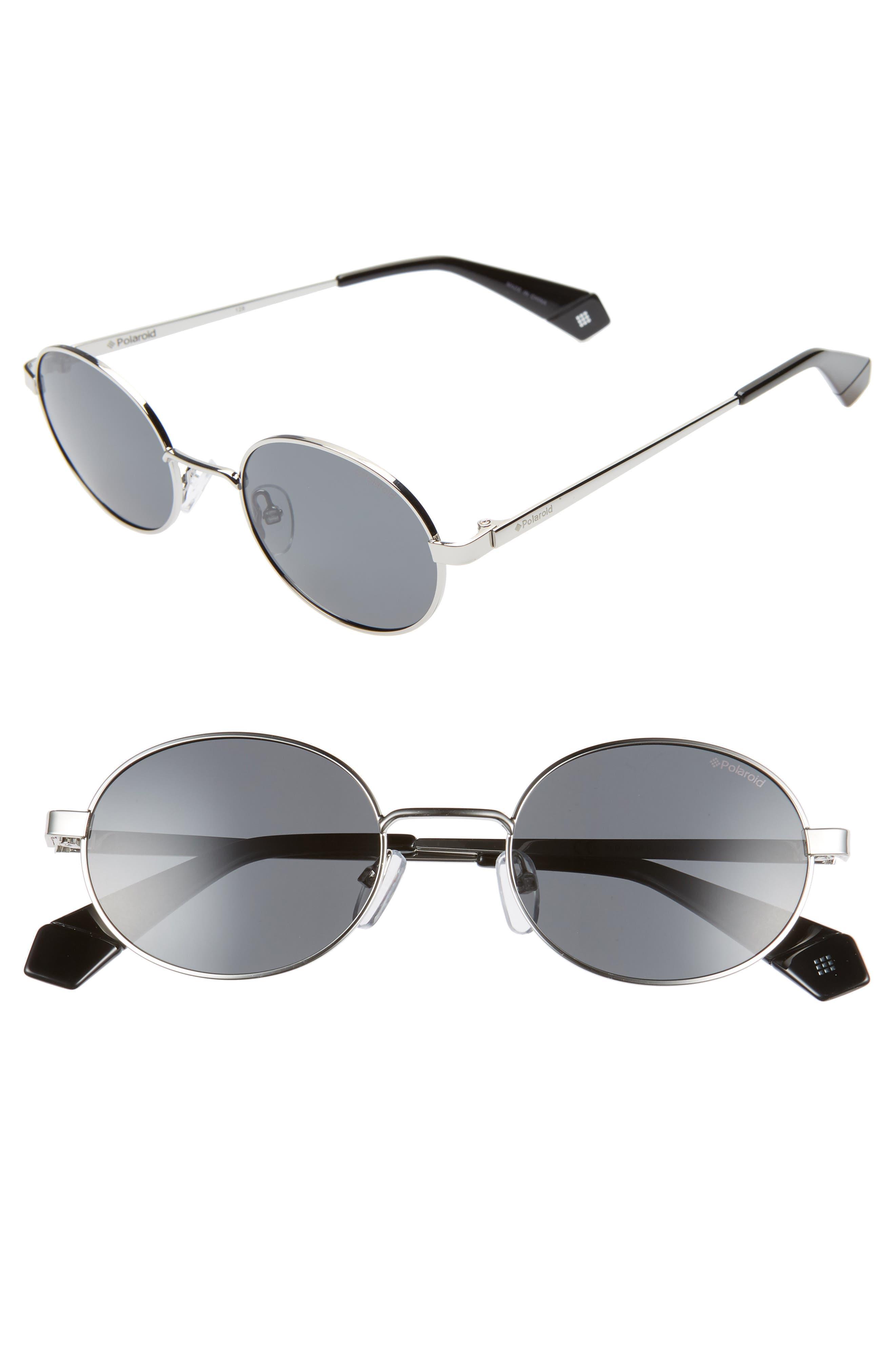 Polaroid 51Mm Polarized Round Sunglasses - Silver/ Black