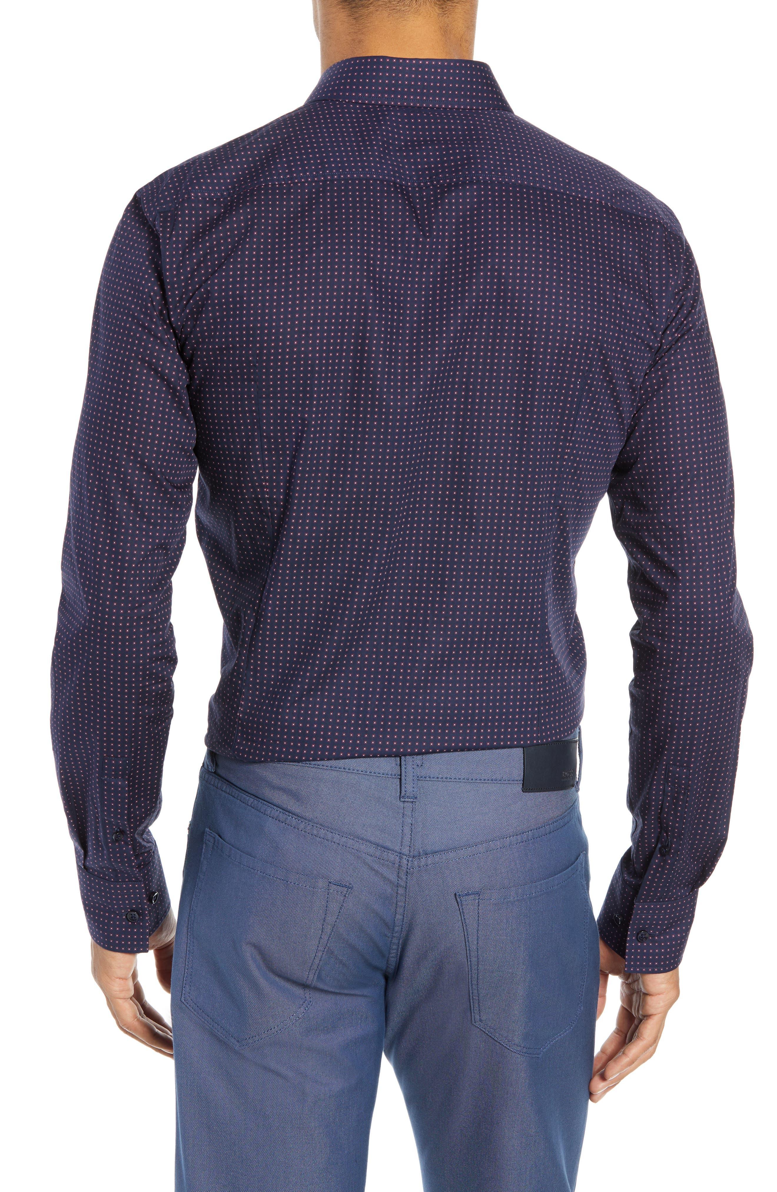 Jenno Slim Fit Dot Dress Shirt,                             Alternate thumbnail 3, color,                             NAVY