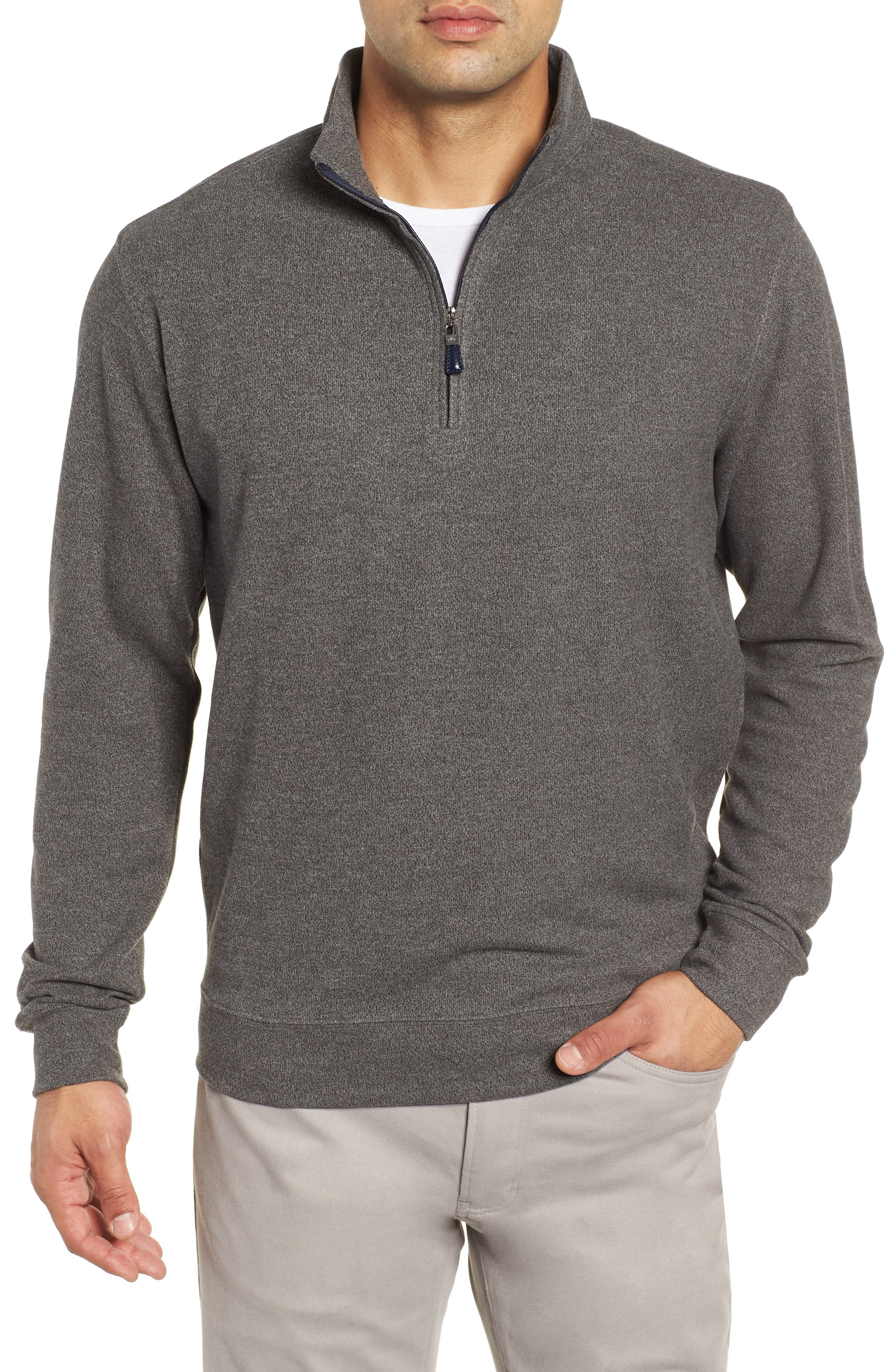 Mélange Fleece Quarter Zip Pullover,                             Main thumbnail 1, color,                             SMOKE