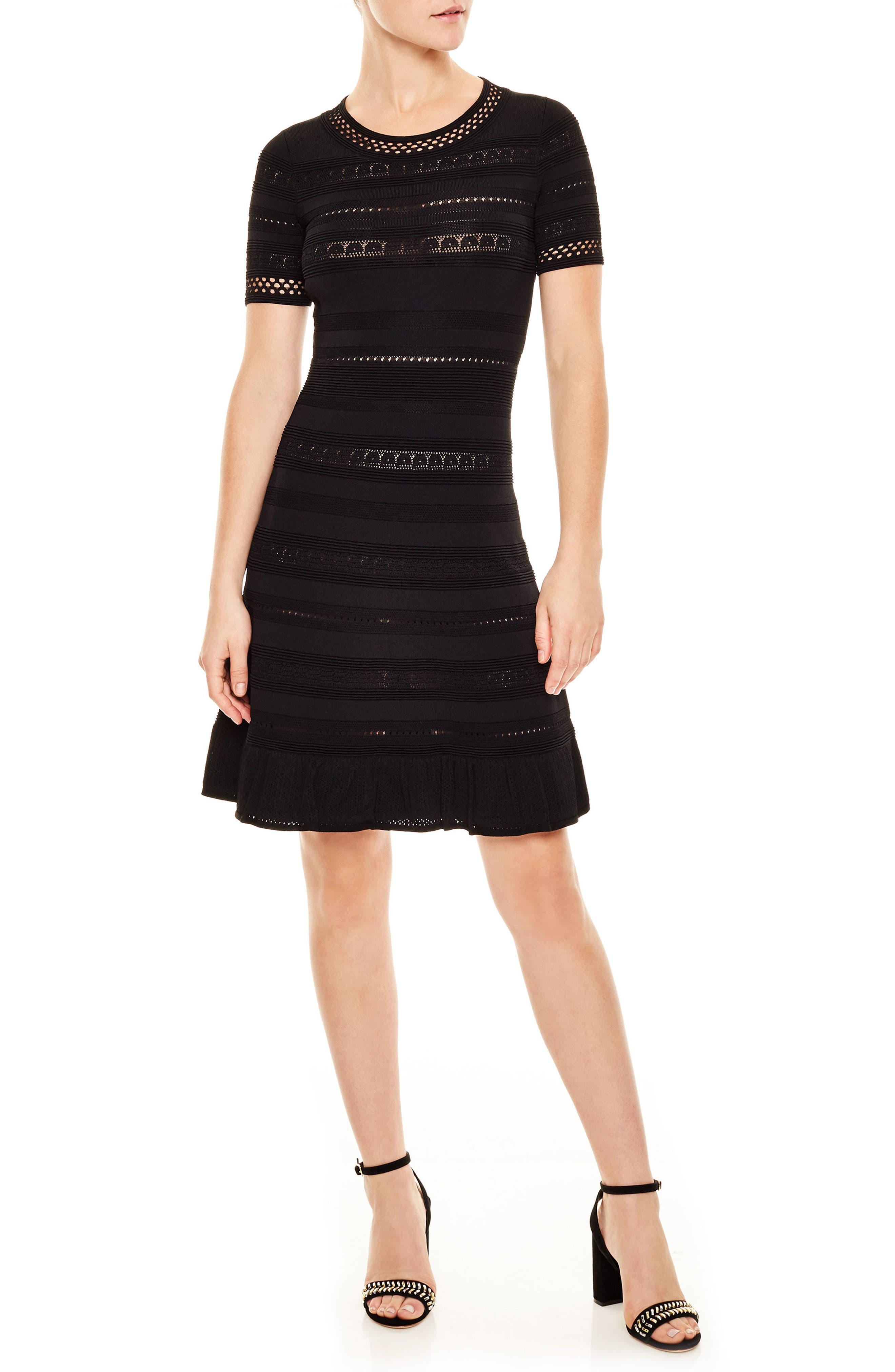 Knit Eyelet Fit & Flare Dress,                             Main thumbnail 1, color,                             001