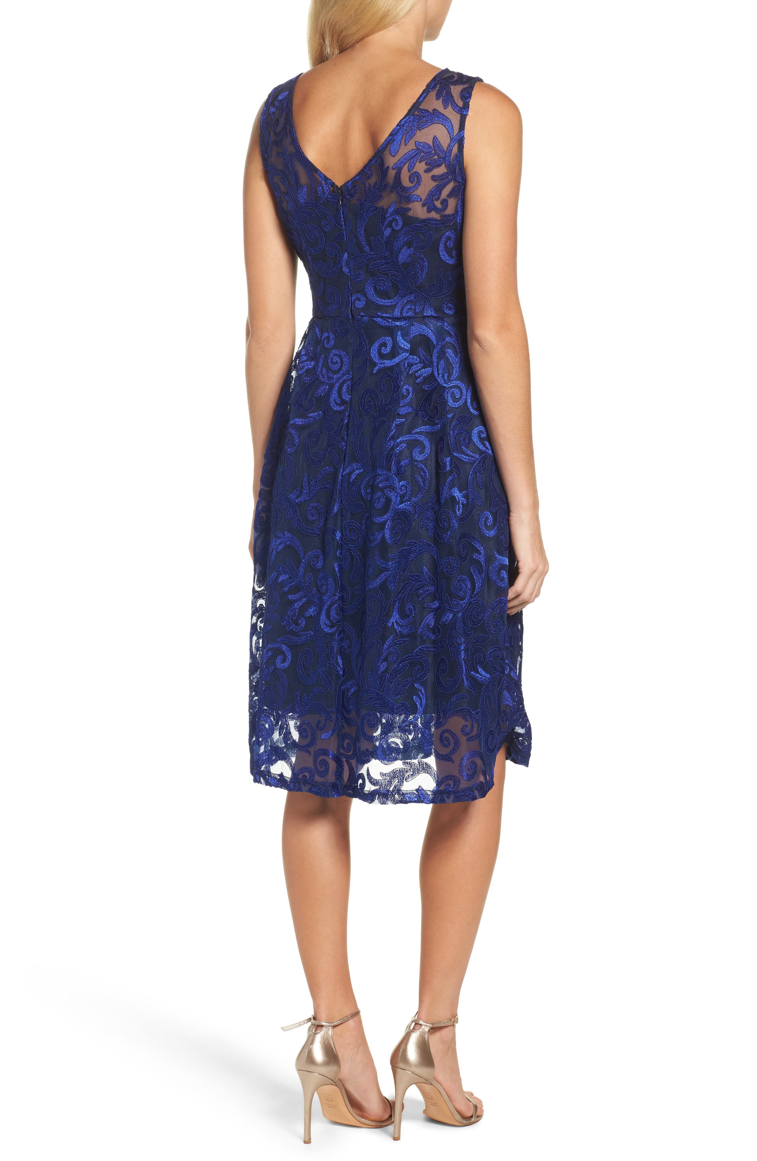 Floral Scroll Embroidered Cocktail Dress,                             Alternate thumbnail 2, color,                             430