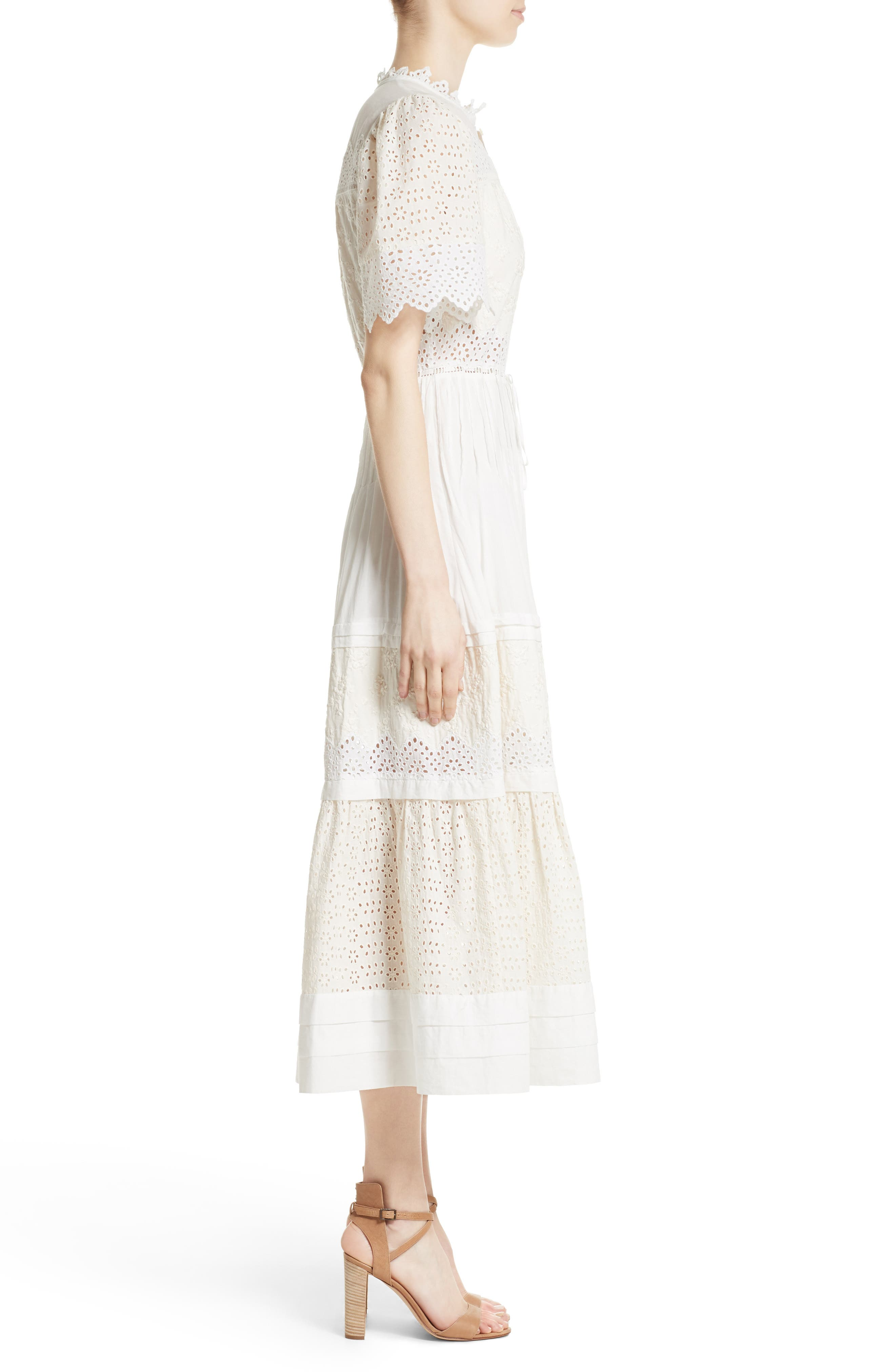 Embroidered Voile Midi Dress,                             Alternate thumbnail 3, color,                             900
