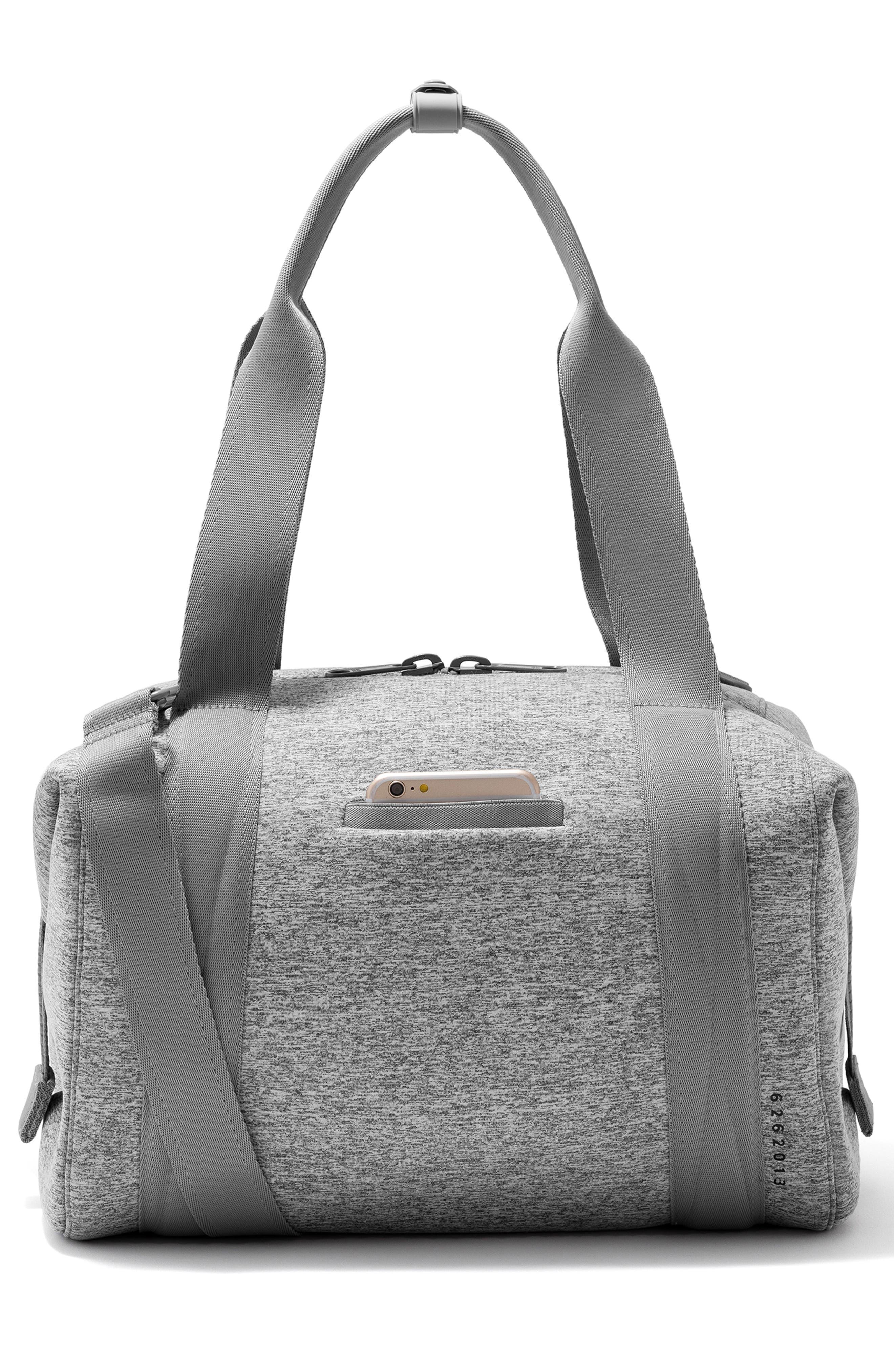 365 Medium Landon Neoprene Carryall Duffel Bag,                             Alternate thumbnail 4, color,                             HEATHER GREY
