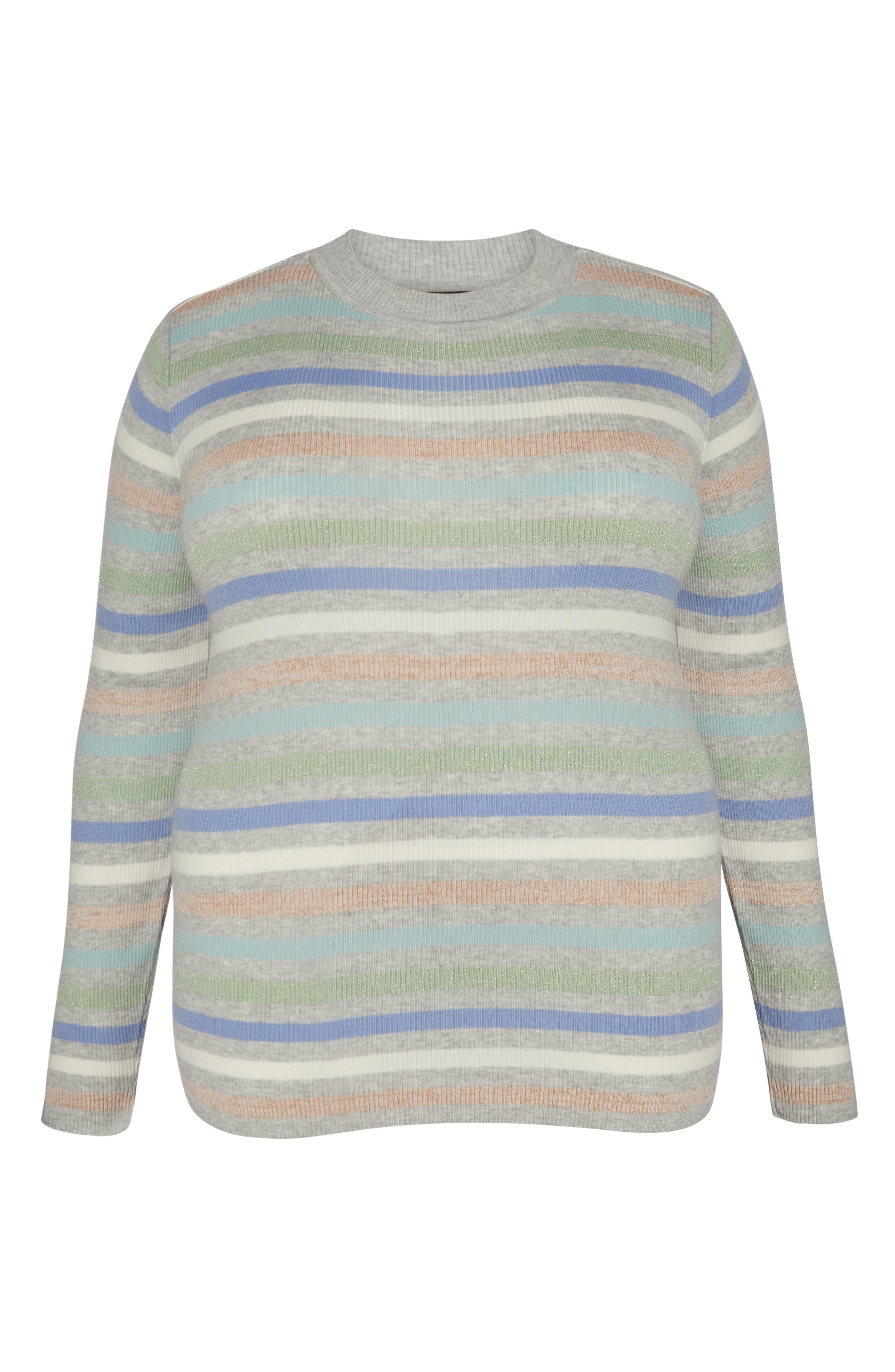 x Atlantic-Pacific Shimmer Stripe Sweater,                             Alternate thumbnail 6, color,                             GREY MULTI STRIPE