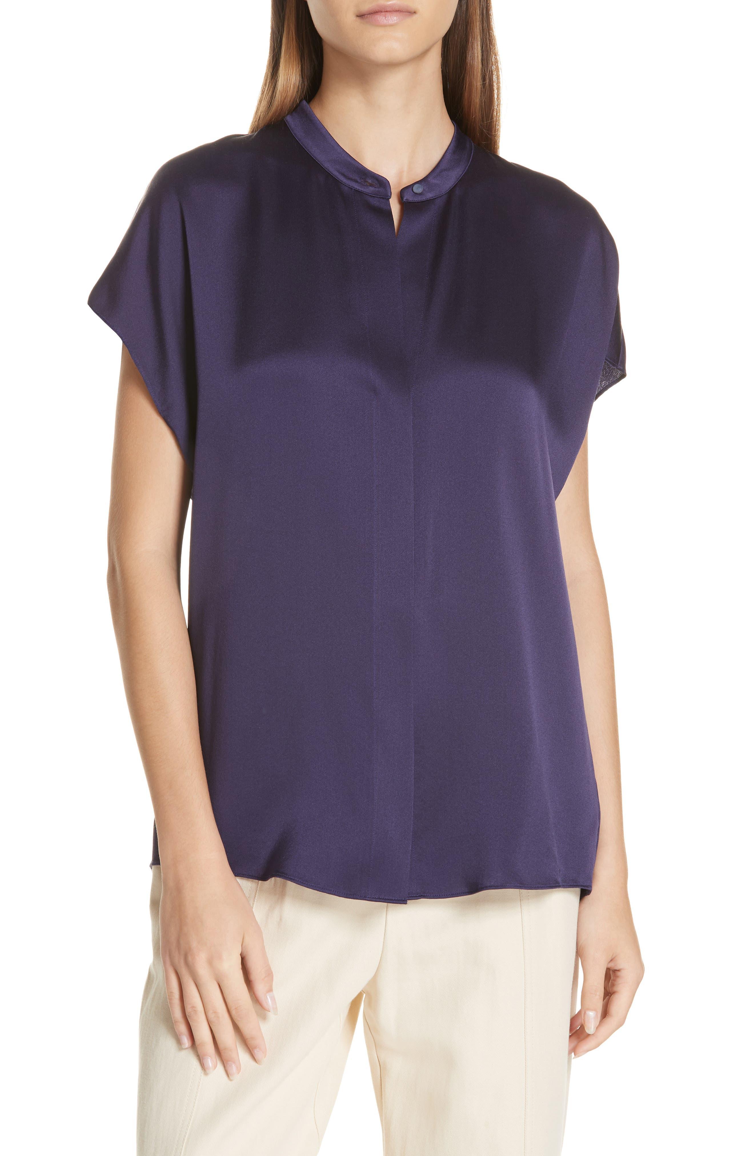Silk Split-Back Short-Sleeve Popover Top in Plum