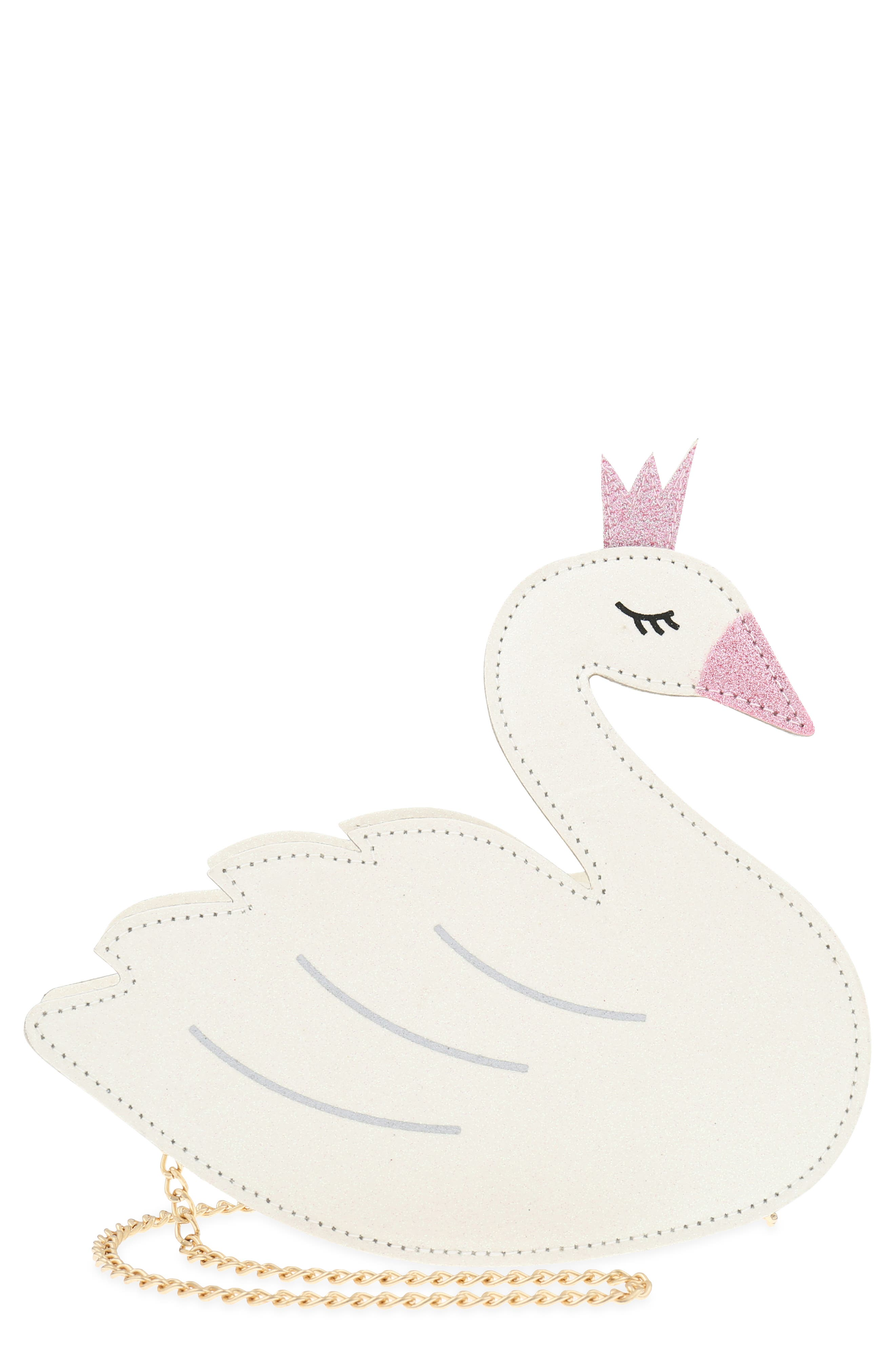 Crowned Swan Shoulder Bag,                         Main,                         color, WHITE COMBO