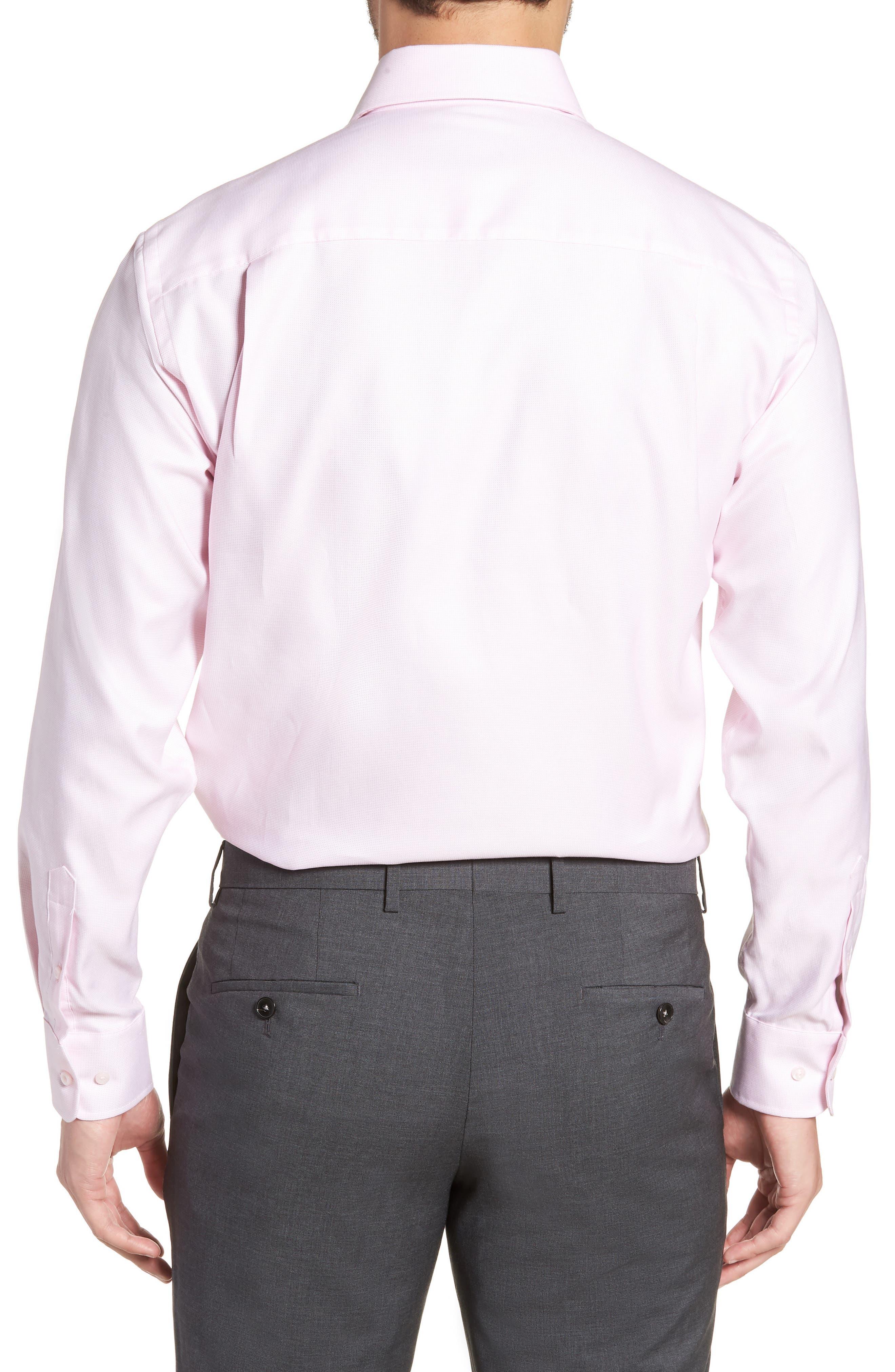 Regular Fit Solid Dress Shirt,                             Alternate thumbnail 3, color,                             PINK