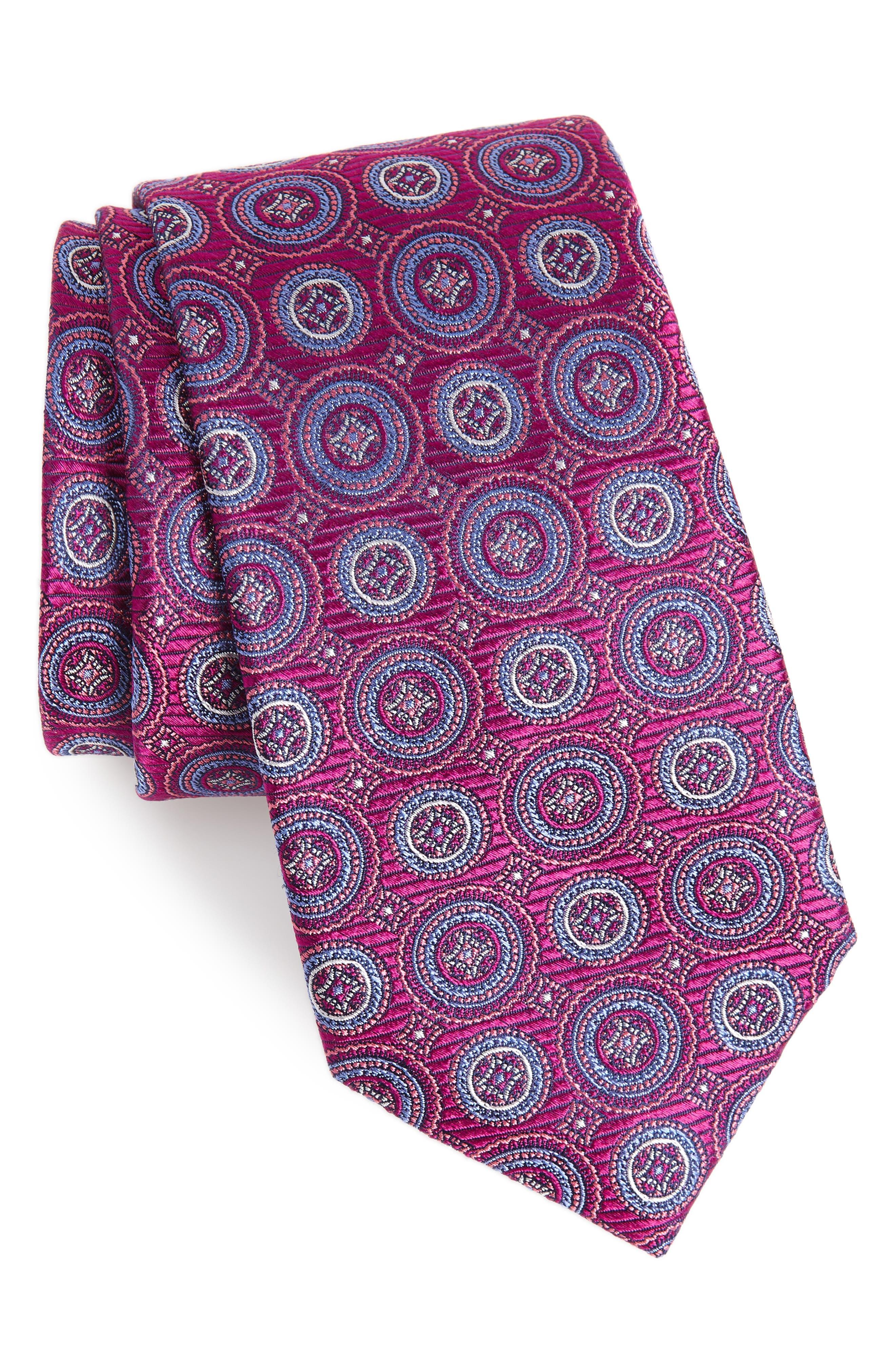 Santa Lucia Circles Silk Tie,                             Main thumbnail 1, color,                             PINK