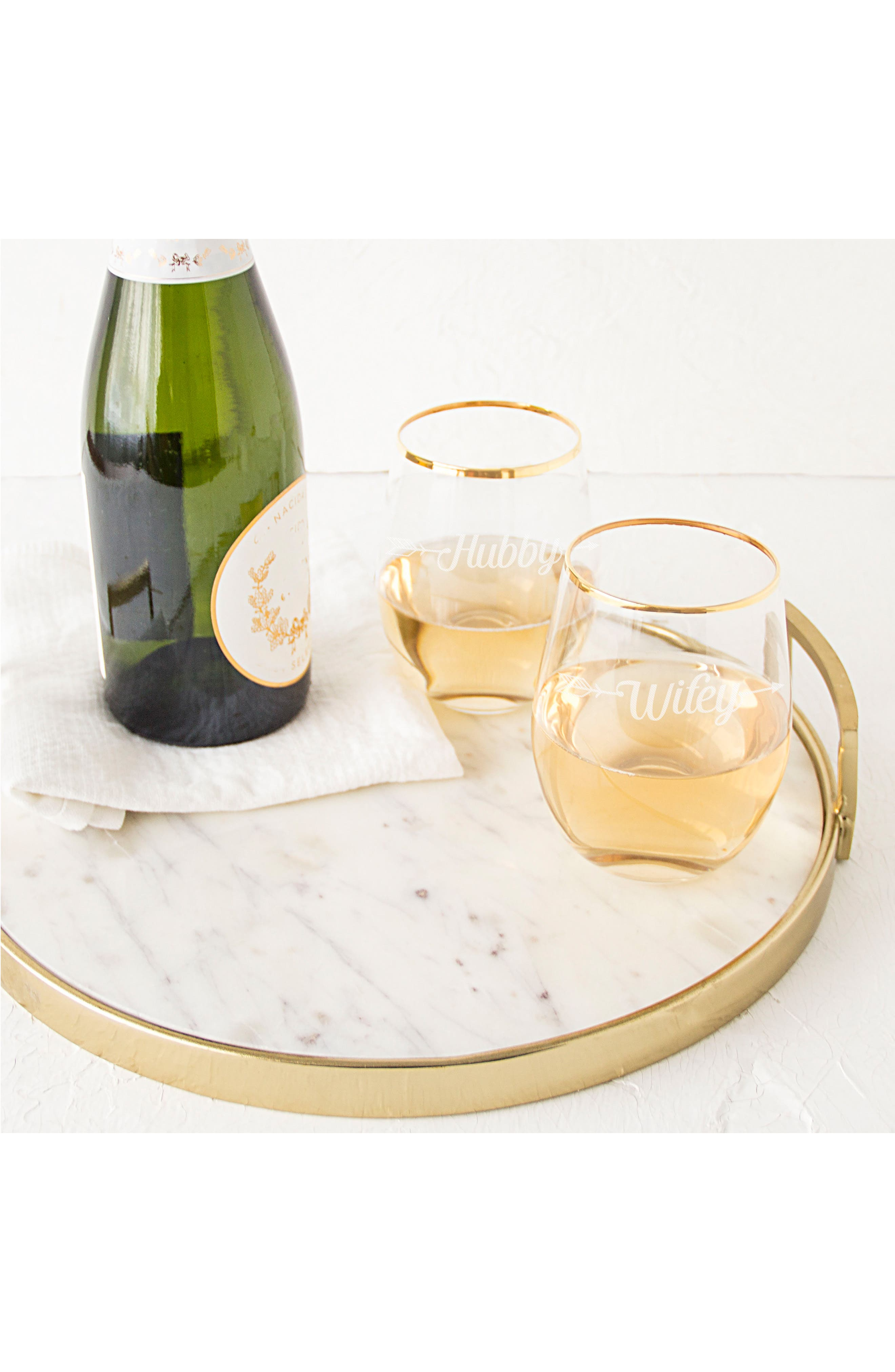 Hubby/Wifey Set of 2 Gold Rimmed Stemless Wine Glasses,                             Alternate thumbnail 6, color,                             710