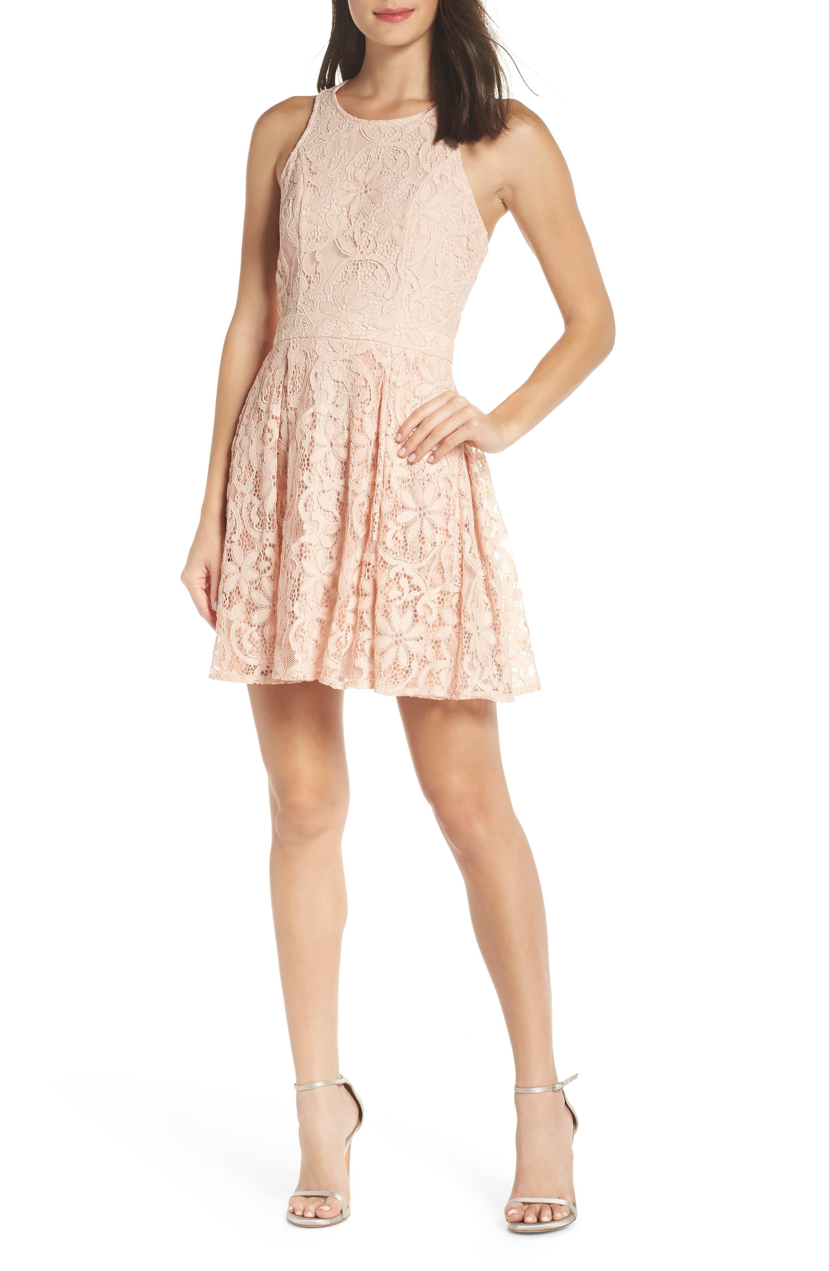 Lulus Racerback Lace Party Dress, Pink