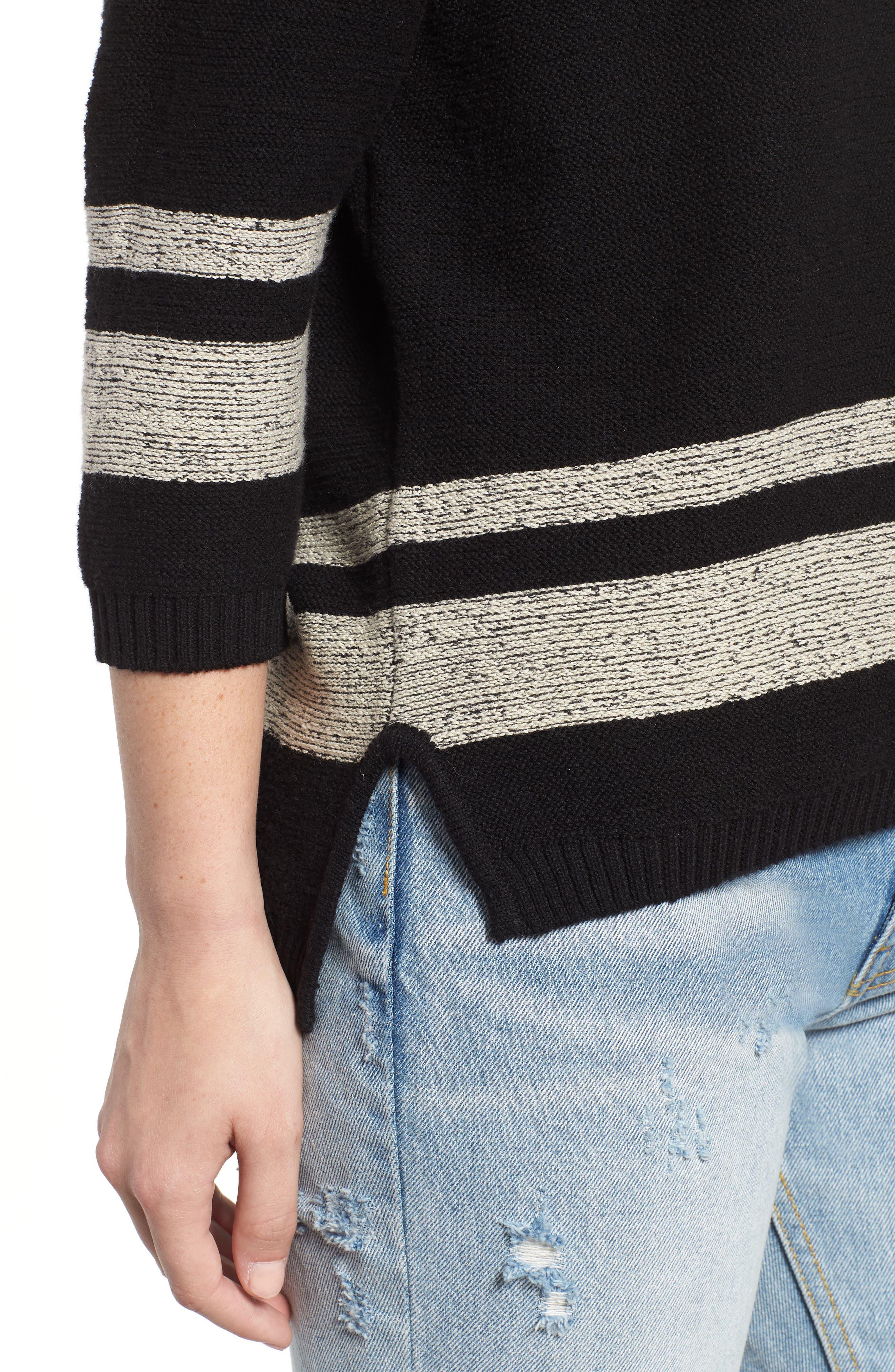 Marked Cold Shoulder Sweater,                             Alternate thumbnail 4, color,                             BLACK