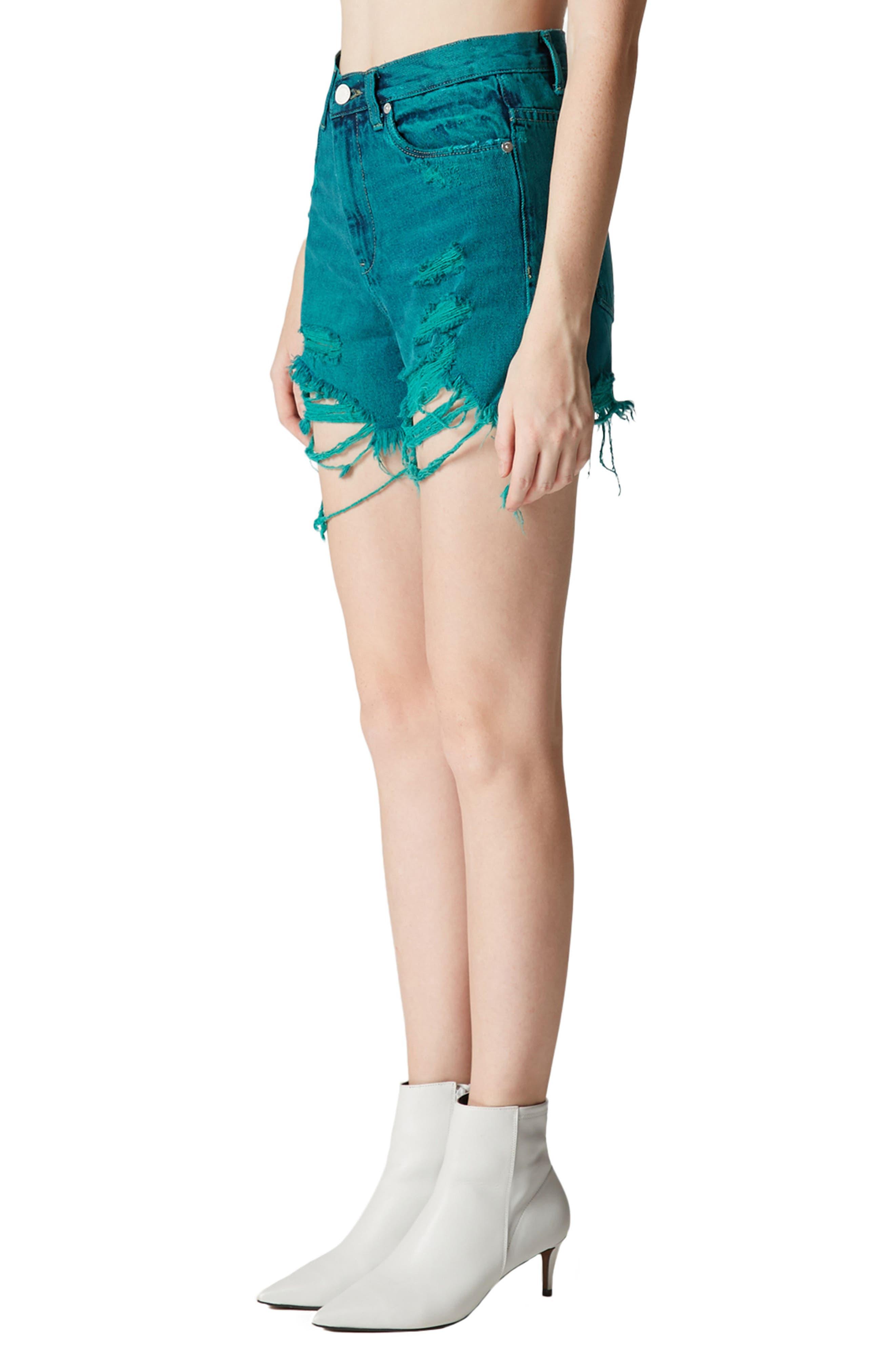 Shredded Cutoff Denim Shorts,                             Alternate thumbnail 5, color,