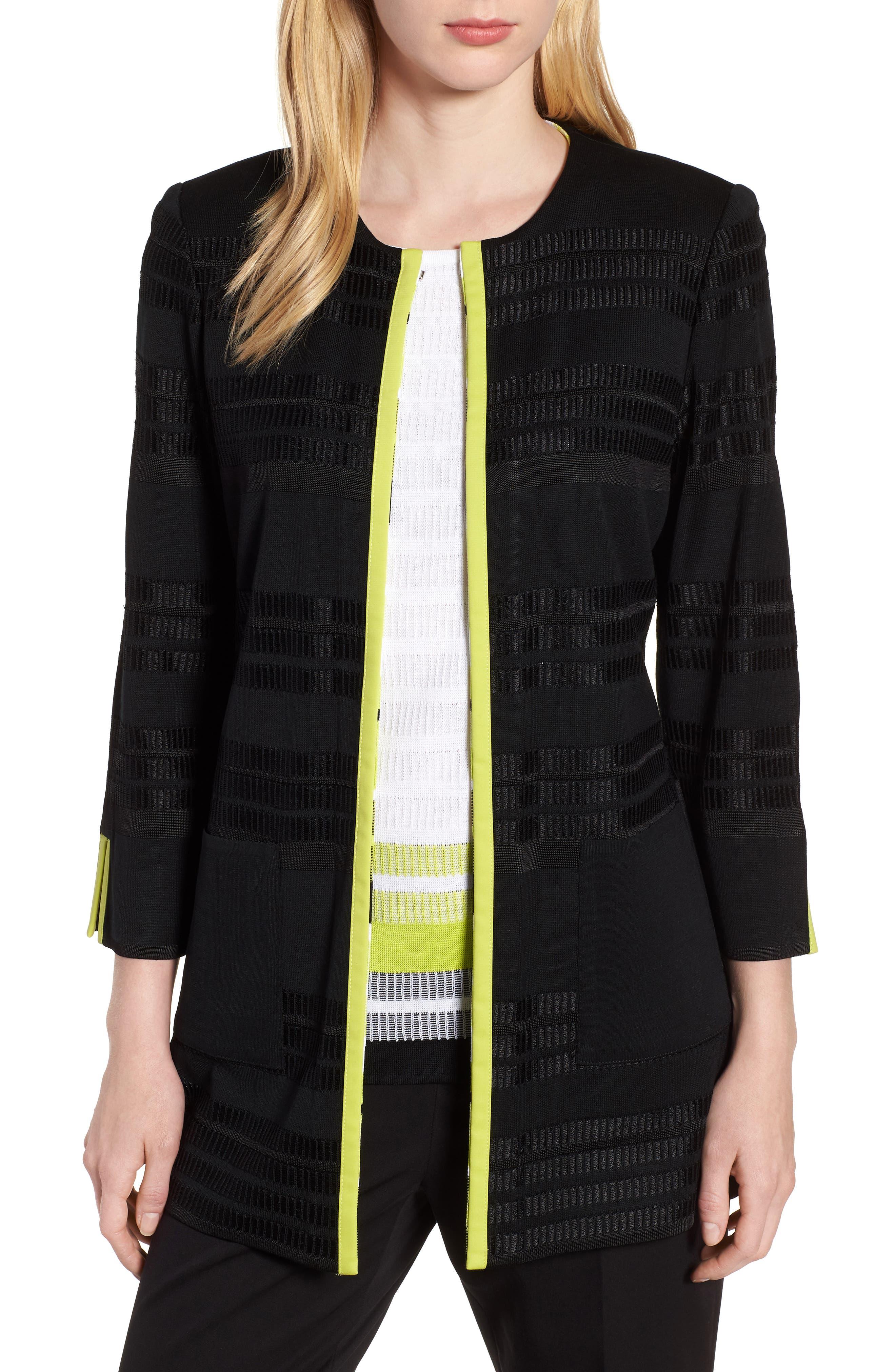Long Jacquard Knit Jacket,                             Main thumbnail 1, color,                             BLACK/ PEAR/ WHITE