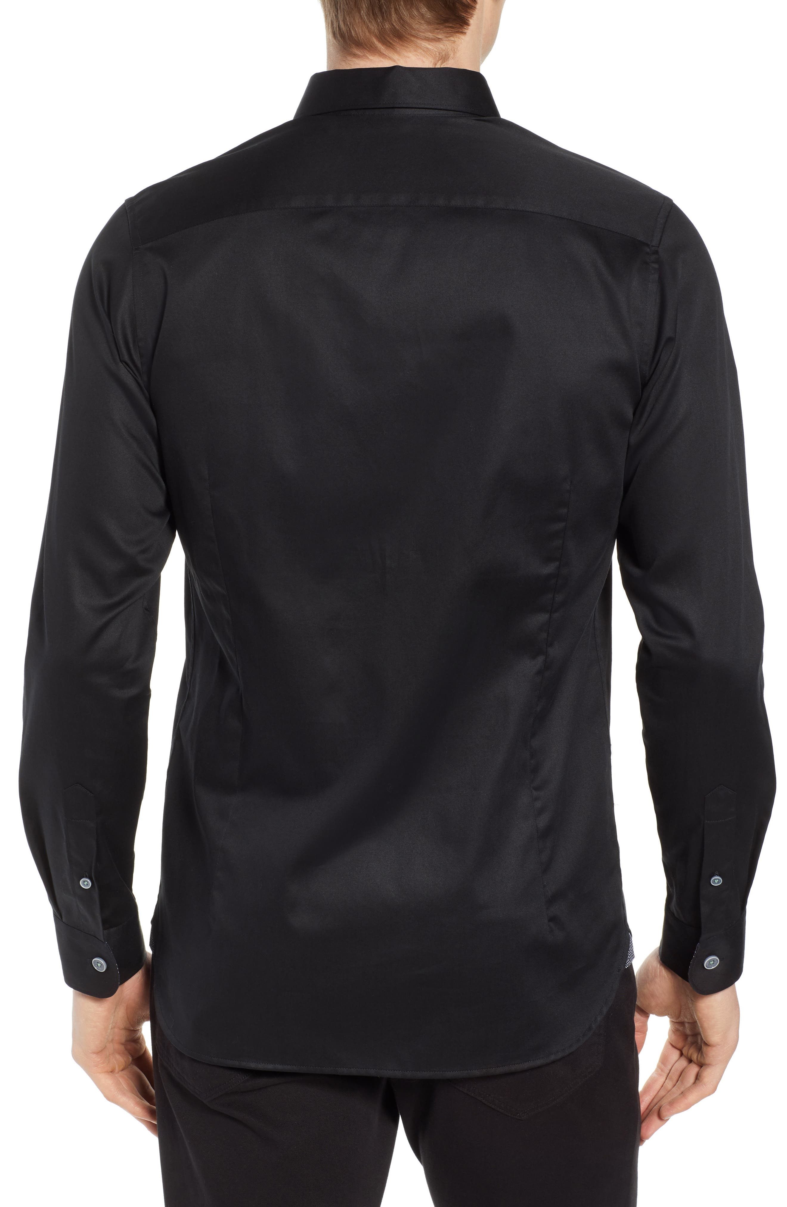 Crazee Slim Fit Stretch Sport Shirt,                             Alternate thumbnail 2, color,                             BLACK