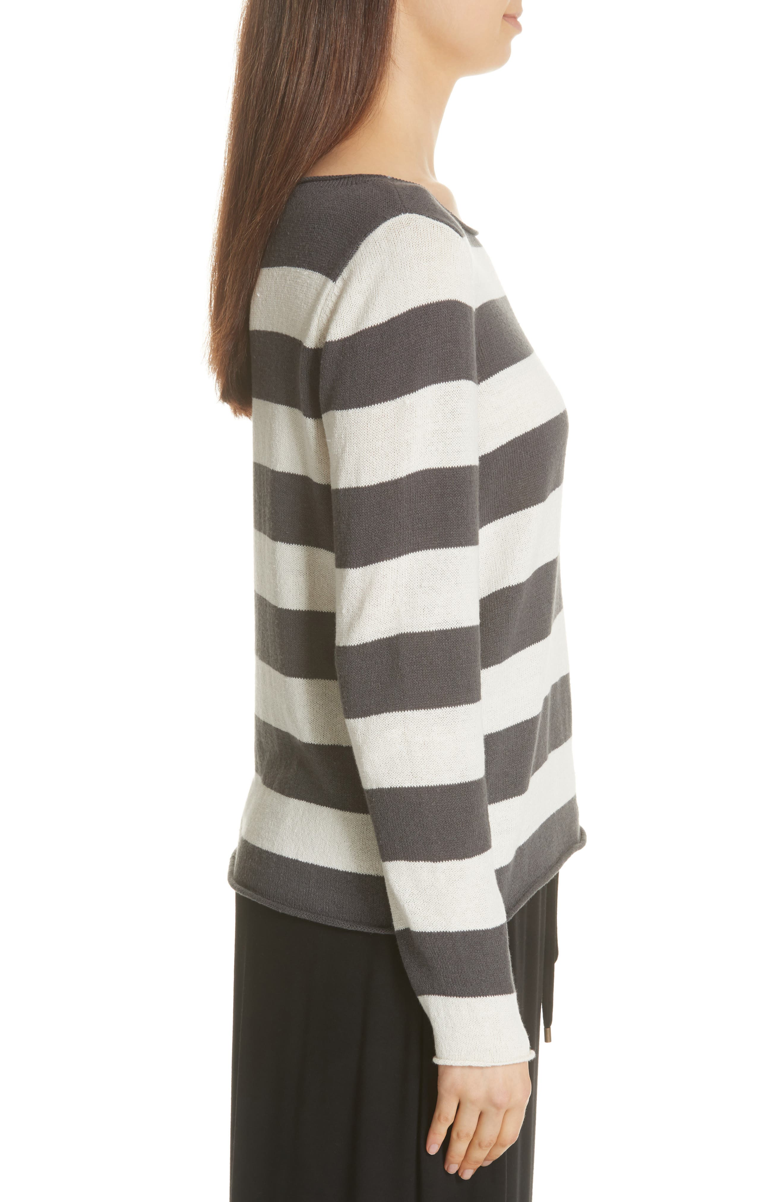 Stripe Cotton & Hemp Sweater,                             Alternate thumbnail 3, color,                             166