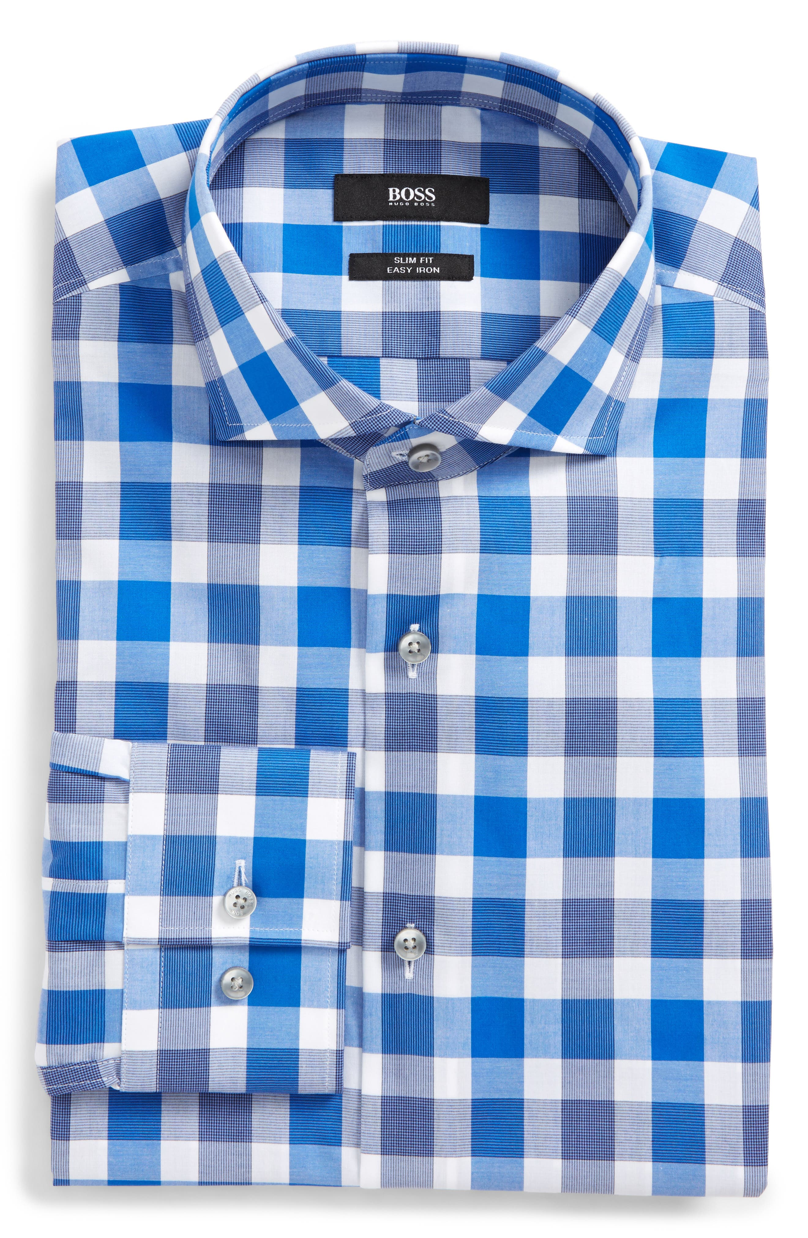 Jason Slim Fit Easy Iron Plaid Dress Shirt,                         Main,                         color, 422