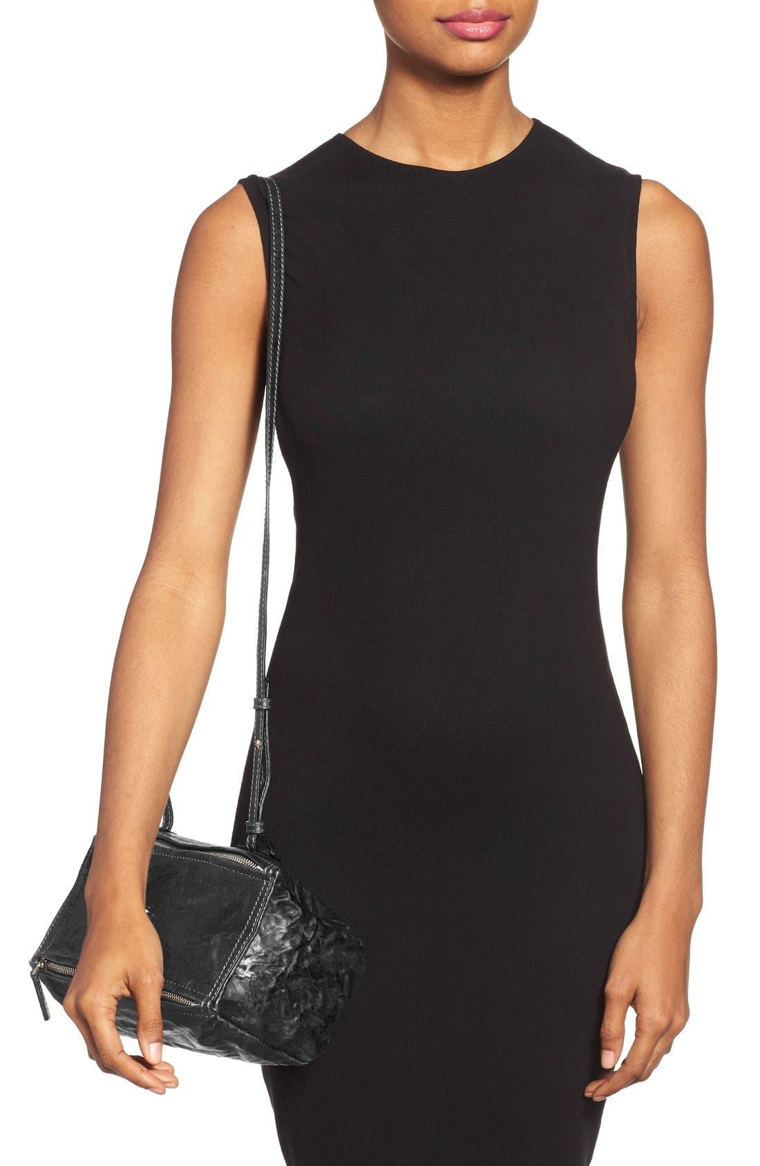 'Mini Pepe Pandora' Leather Shoulder Bag,                             Alternate thumbnail 4, color,                             BLACK
