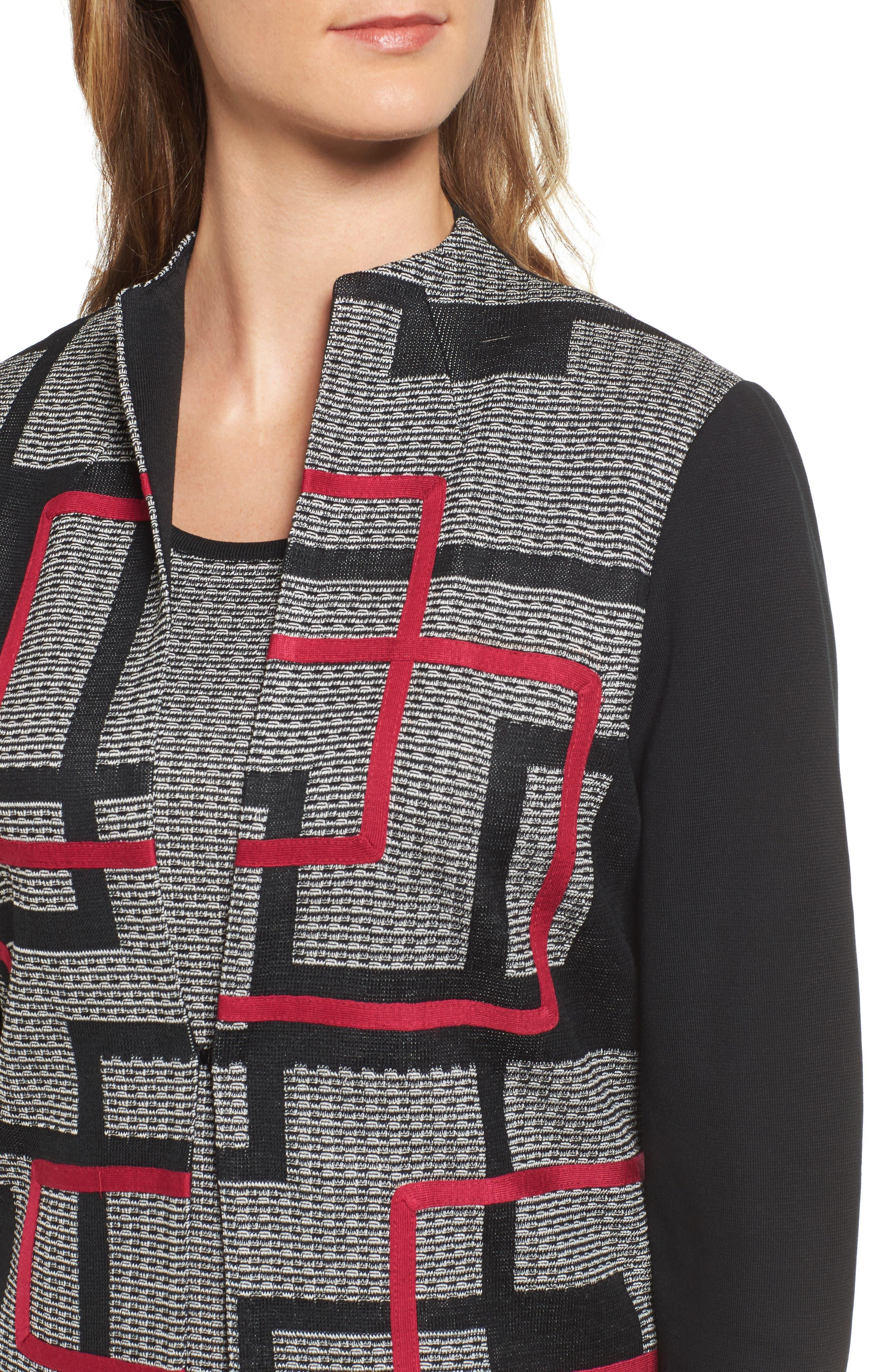 Textured Knit Long Jacket,                             Alternate thumbnail 4, color,