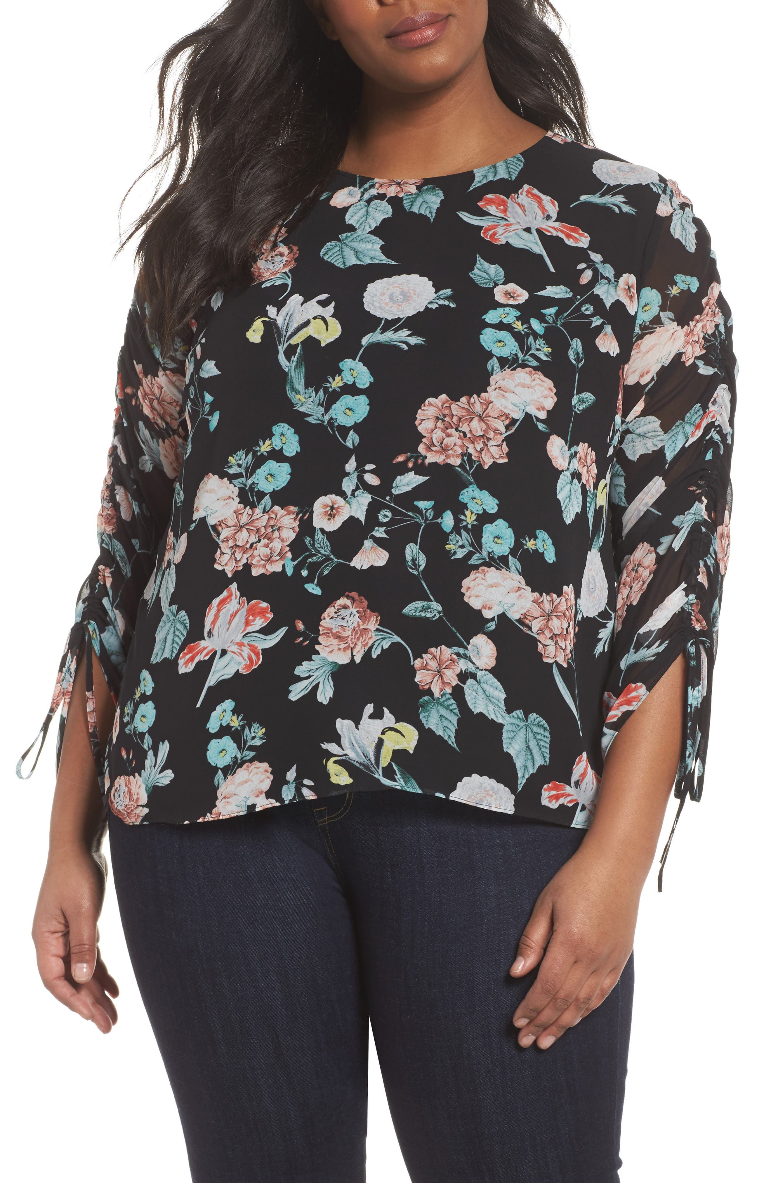 Floral Gardens Drawstring Sleeve Blouse,                         Main,                         color, 010