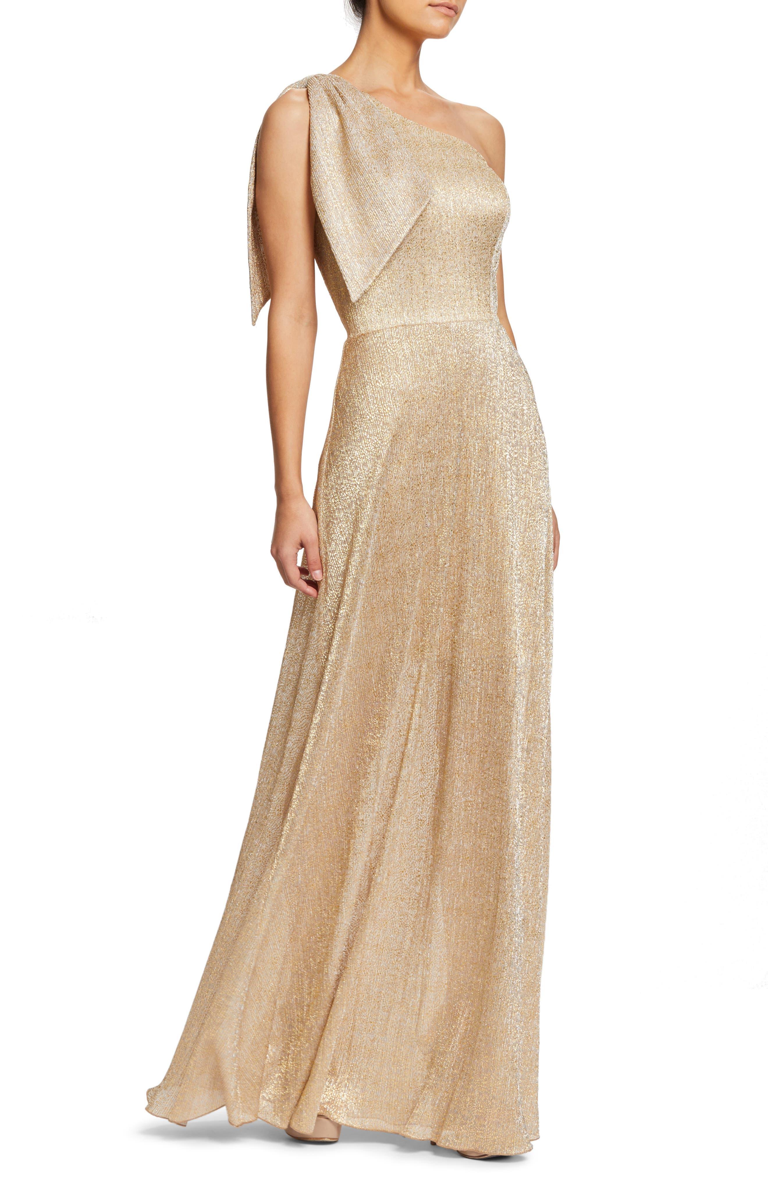 Savannah One-Shoulder Gown,                             Alternate thumbnail 3, color,                             GOLD