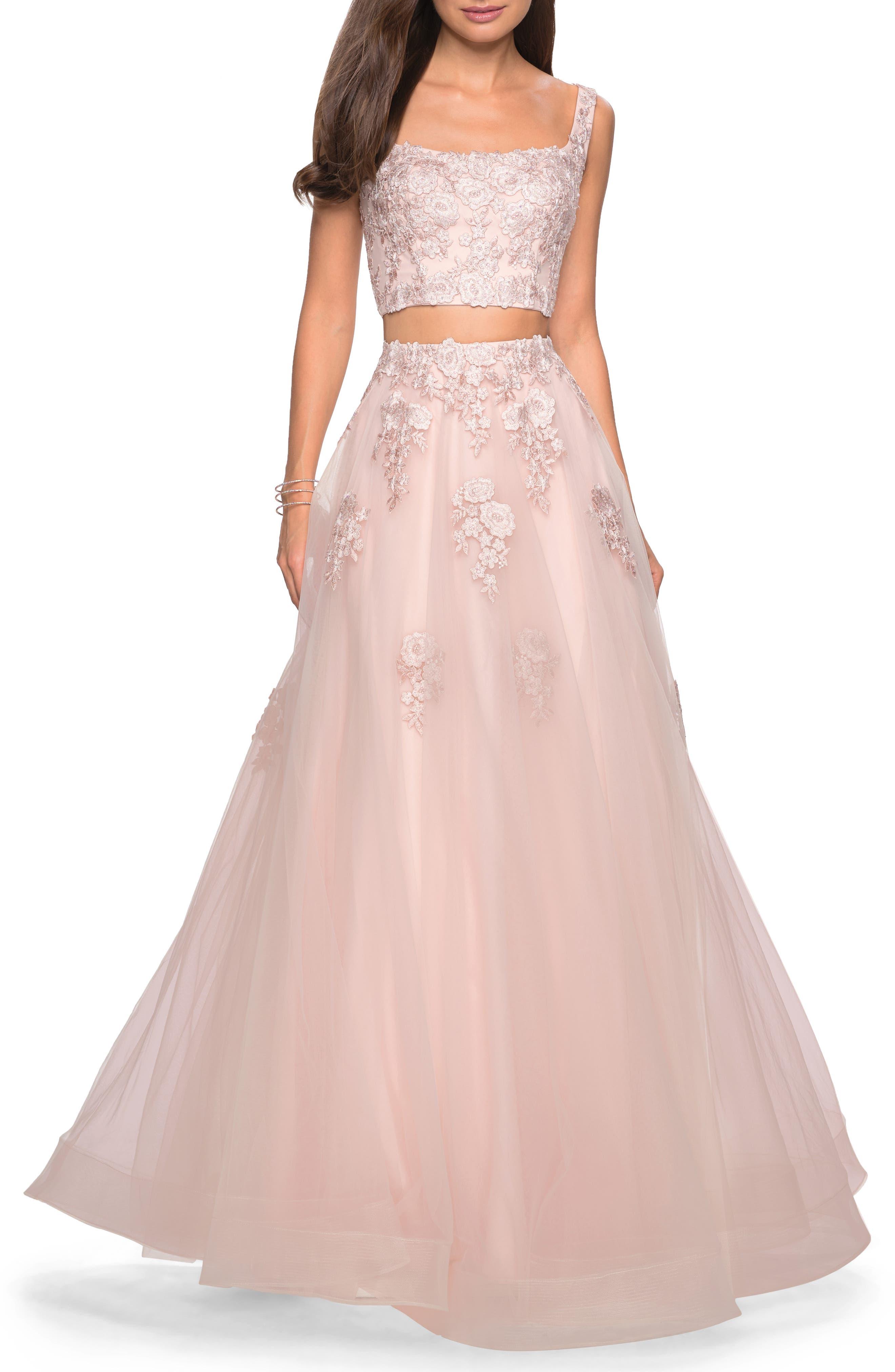 La Femme Two-Piece Tulle & Lace Evening Dress, Pink