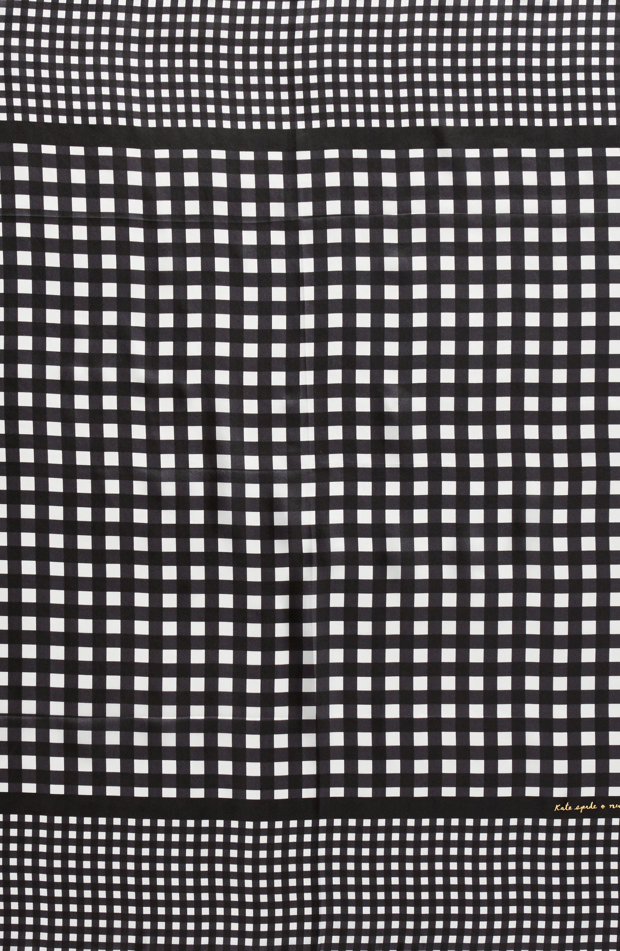 gingham square silk scarf,                             Alternate thumbnail 4, color,                             001