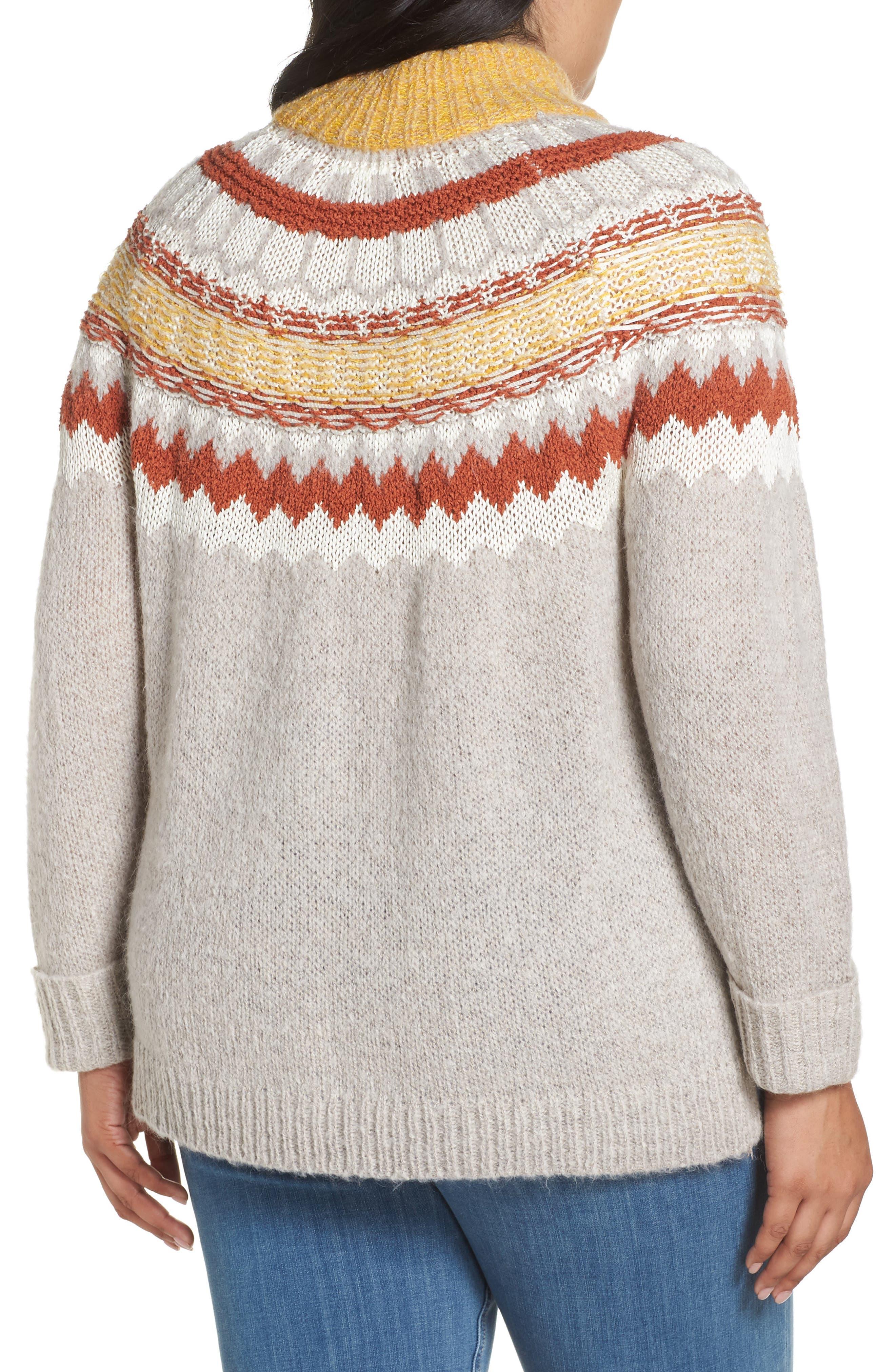 Chunky Jacquard Sweater,                             Alternate thumbnail 2, color,                             TAN COBBLESTONE FOLIAGE PTN