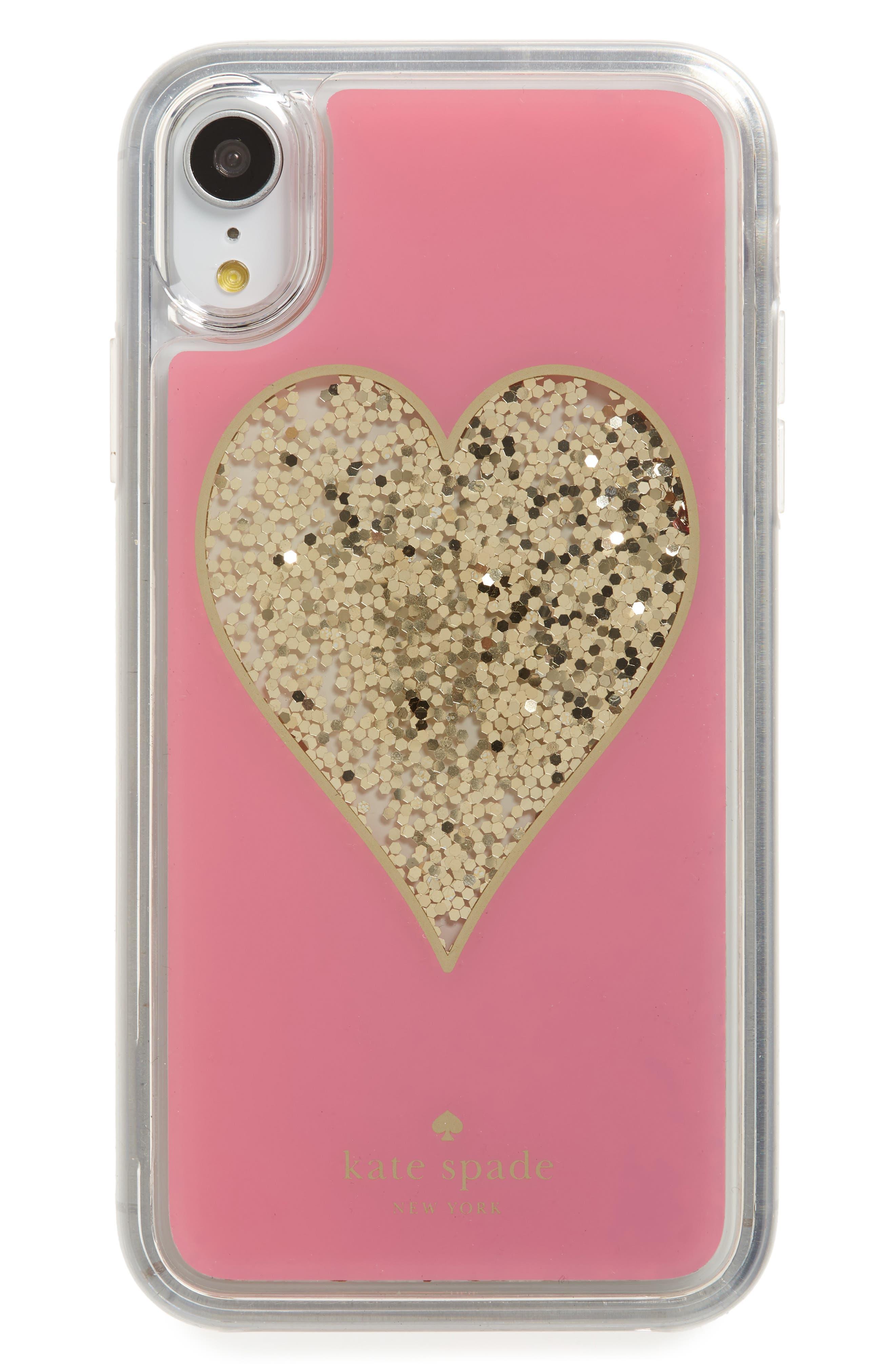 liquid glitter heart iPhone X/Xs/XR & Xs Max case,                             Main thumbnail 1, color,                             MULTI