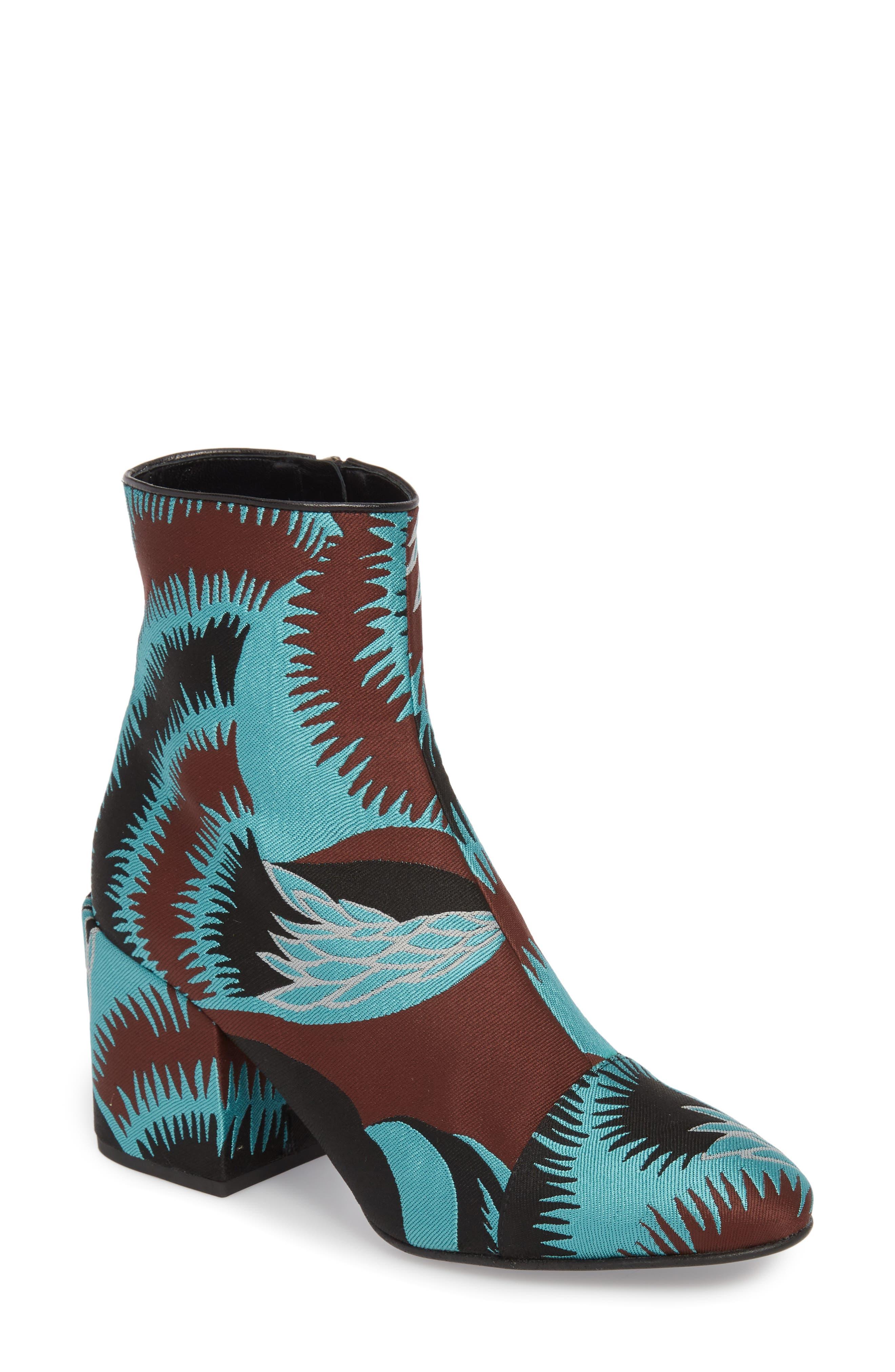 Print Block Heel Bootie,                         Main,                         color, TURQUOISE