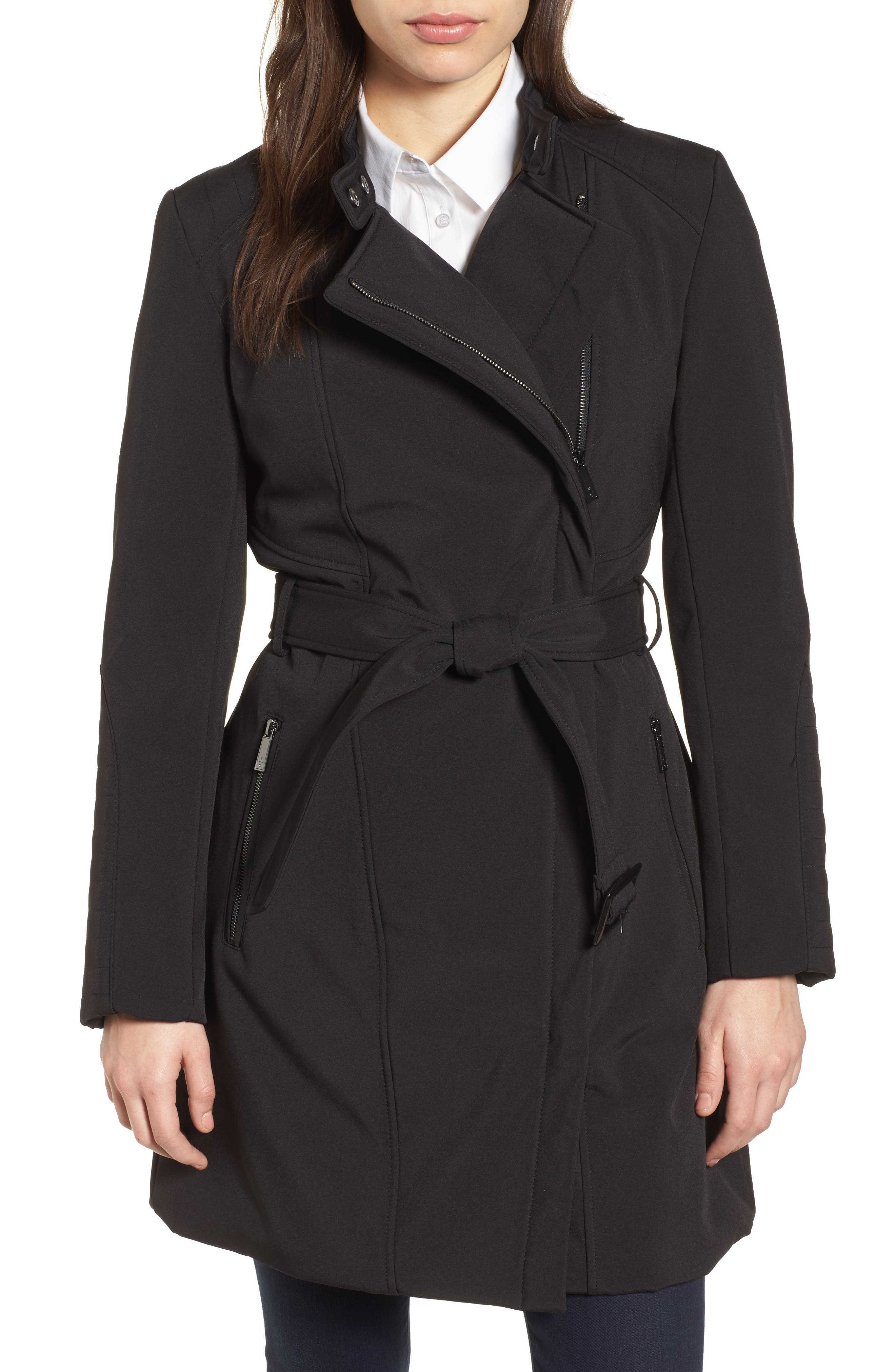 Asymmetrical Belted Trench Coat,                         Main,                         color, 001
