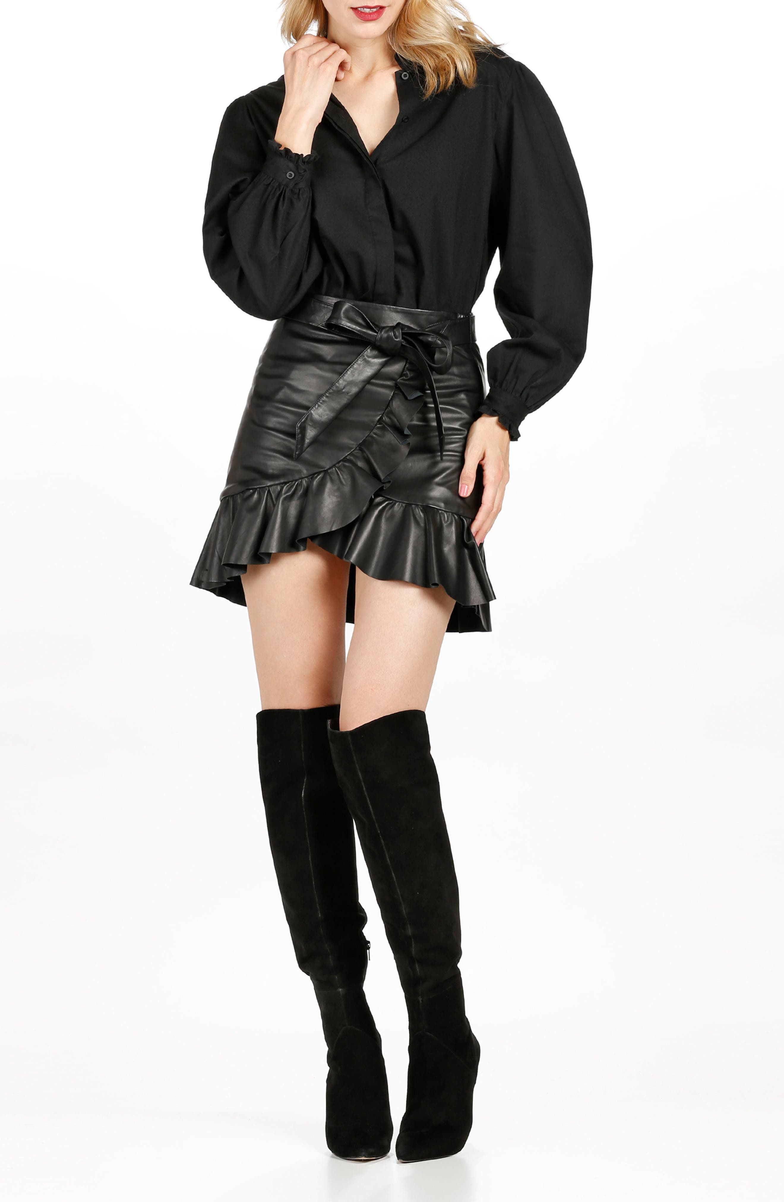 Nivelle Ruffle Leather Skirt,                             Alternate thumbnail 4, color,                             001